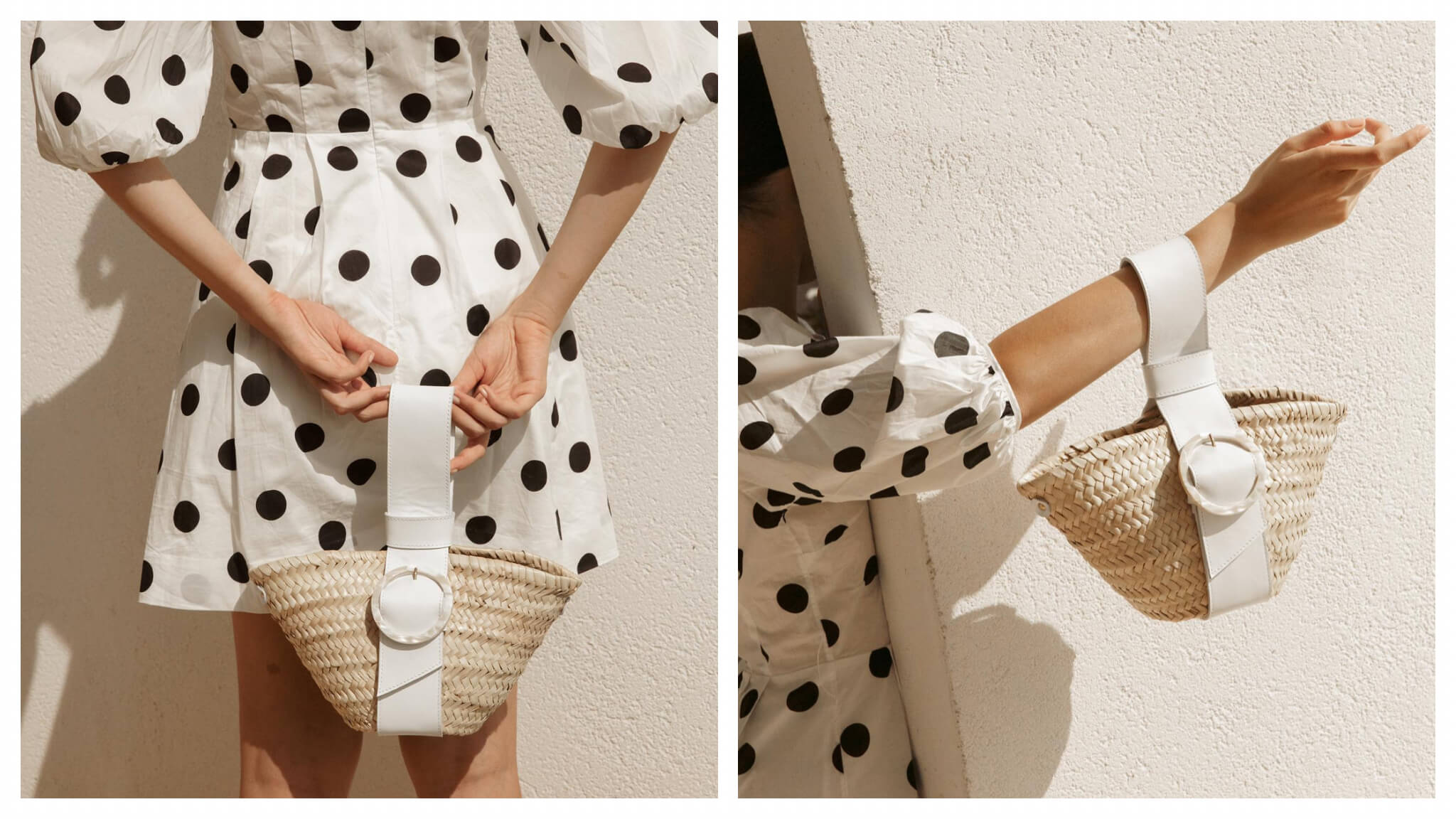A woman in a polka-dot print dress models a small wicker handbag with a thick white strap from the brand Il était un fil
