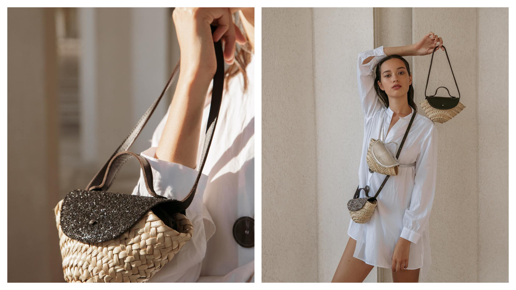 Left: A woman in a white dress holds a  wicker handbag with black detailing and straps from the brand Il était un fil, Right: A woman in a white dress models with three small wicker bags, each with different details, from the brand Il était un fil