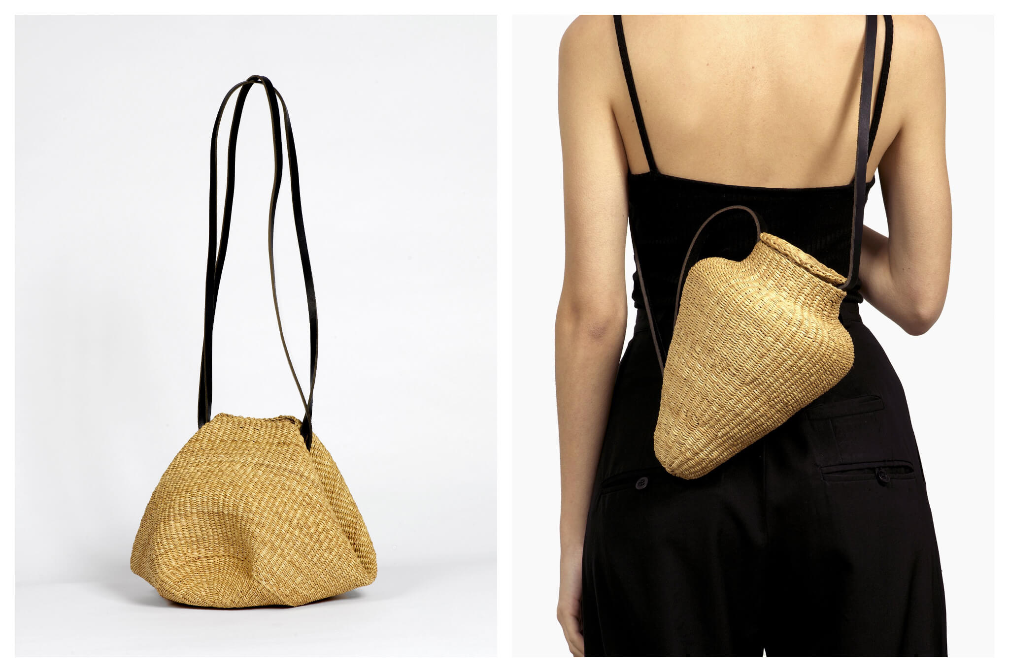 Left: A small wicker summer handbag with a long black strap from Inès Bressand, Right: A woman in a black jumpsuit wears a unique wicker bag with a long black strap around her torso