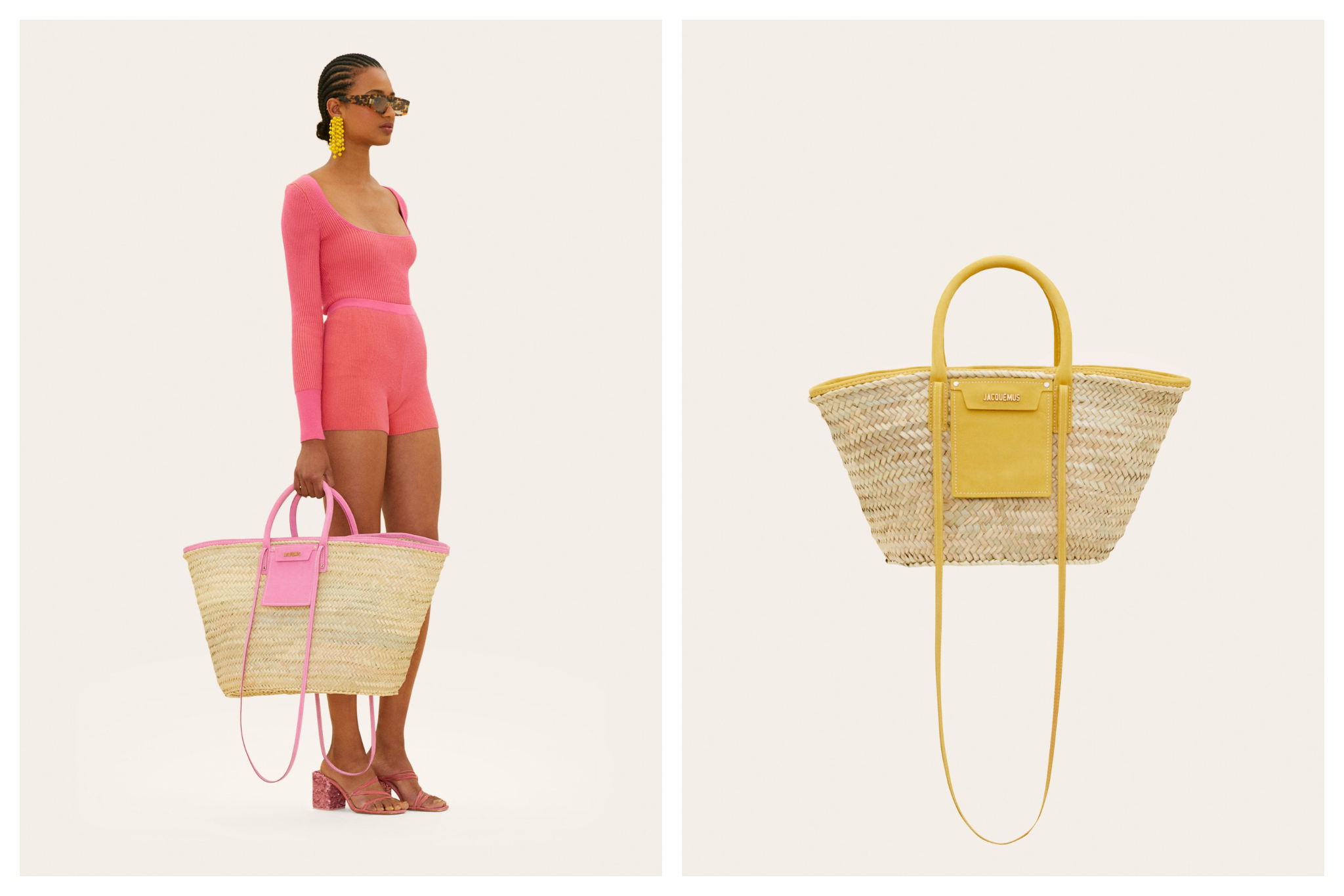 Left: A model, wearing a short pink onsie with long sleeves and styled with earrings, sunglasses and heels holds a large wicker bag with pink detailing from Jacquemus, Right: A large wicker summer bag with yellow detailing from Jacqemus