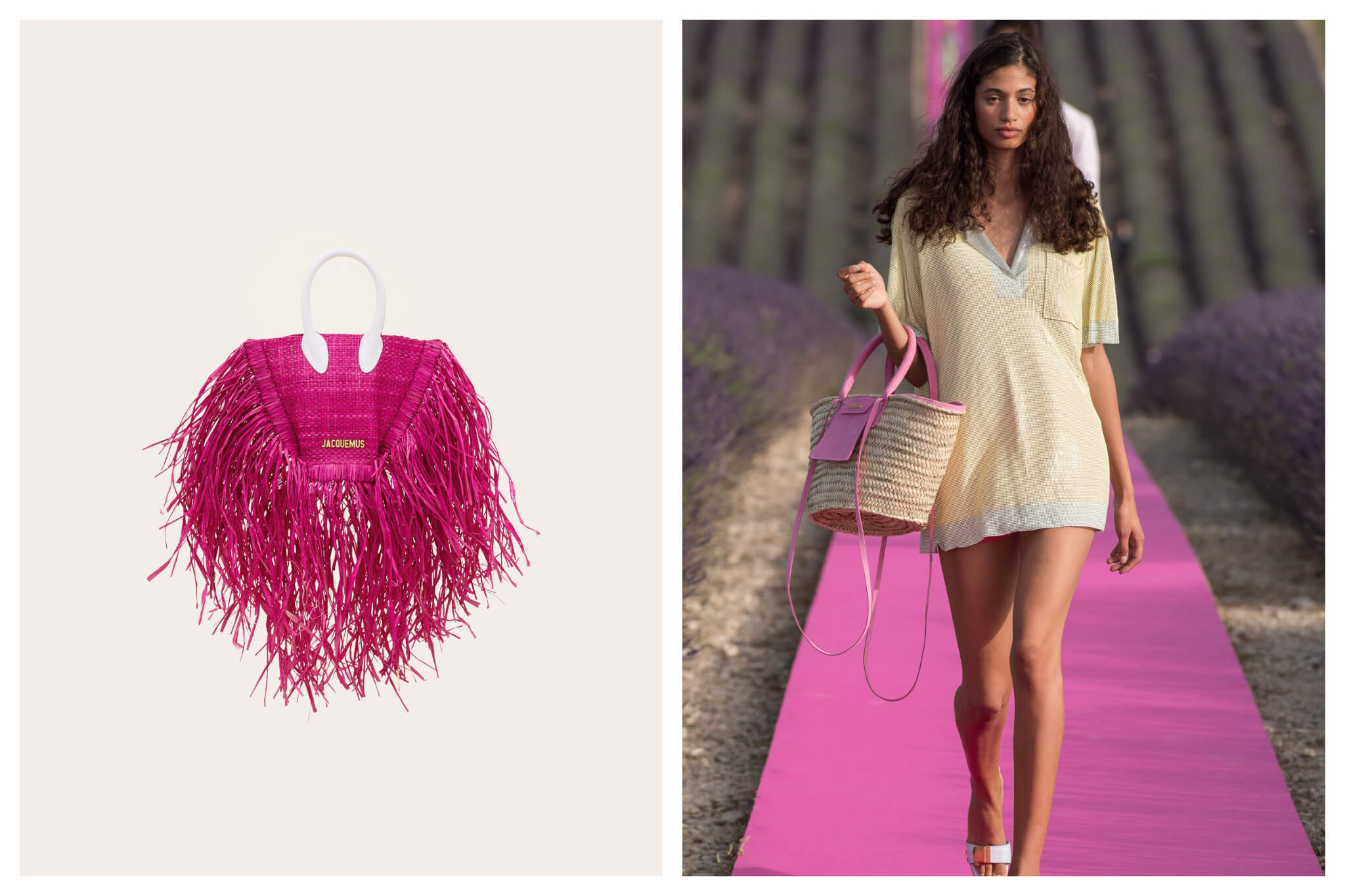 Left: A hot pink hand bag, with long tassels and a white handle from Jacquemus, Right: A woman in an oversized polo shirt walks down a pink runway through a lavender field during a fashion show for Jacquemus. She holds a wicker bag with pink detailing from the designer.
