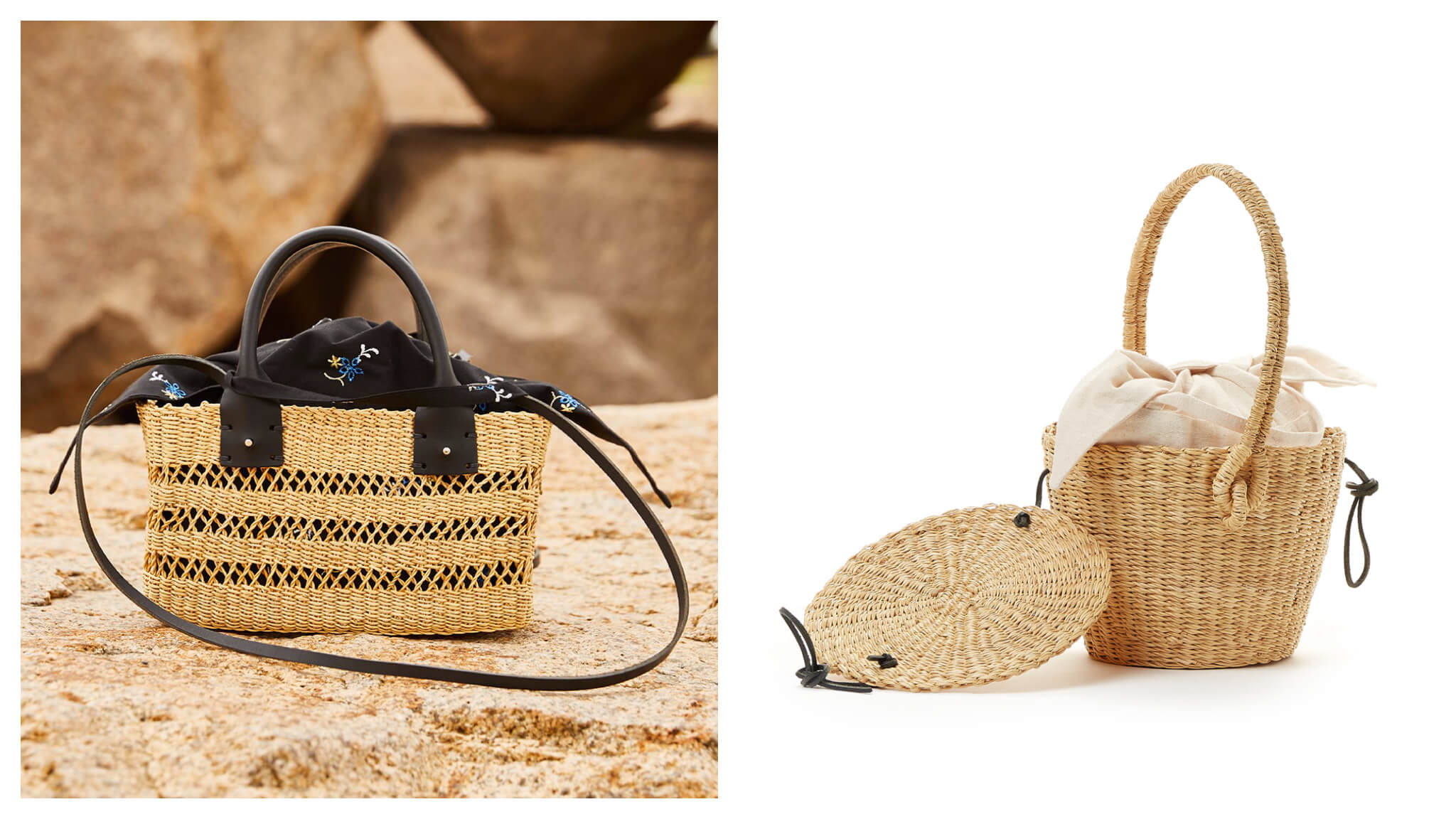 Left: A small wicker summer bag with details and black straps from Muuñ sits on a large stone, Right: A cute small wicker basket from Muuñ sits in front of a white background.