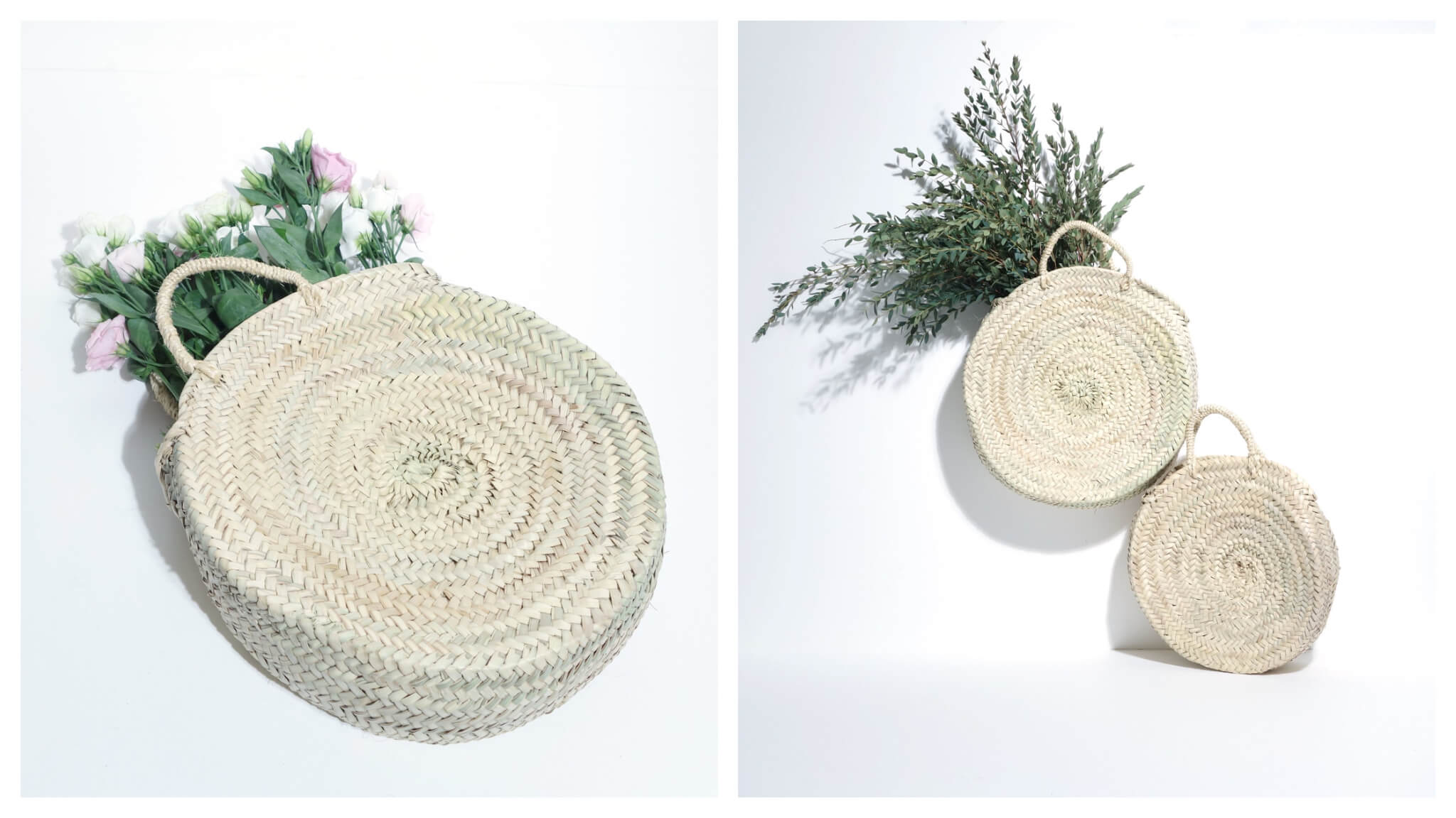 Left: A circular wicker handbag with small straps from the brand Sook Paris sits on a white surface. Pink and white flowers can be seen peaking out of the bag. Right: Two circular wicker handbags from Sook Paris are stacked atop each other, the one on top filled with flowers and greenery.