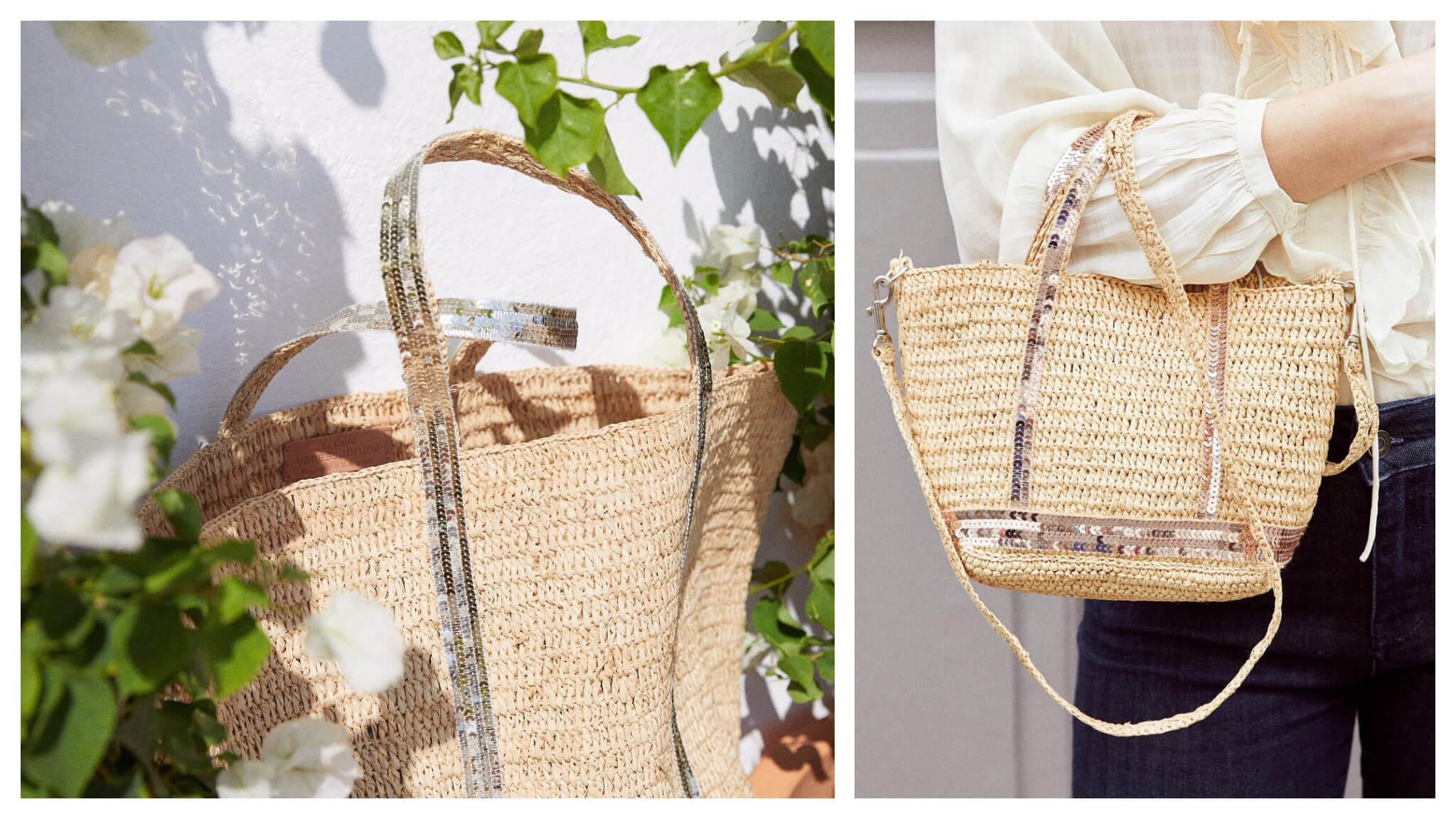 Left: A light wicker summer bag from Vanessa Bruno sits in the sun between two rose bushes, which have green leaves and white roses, Right: A woman wearing a white top and jeans holds a cute wicker summer bag from Vanessa Bruno.