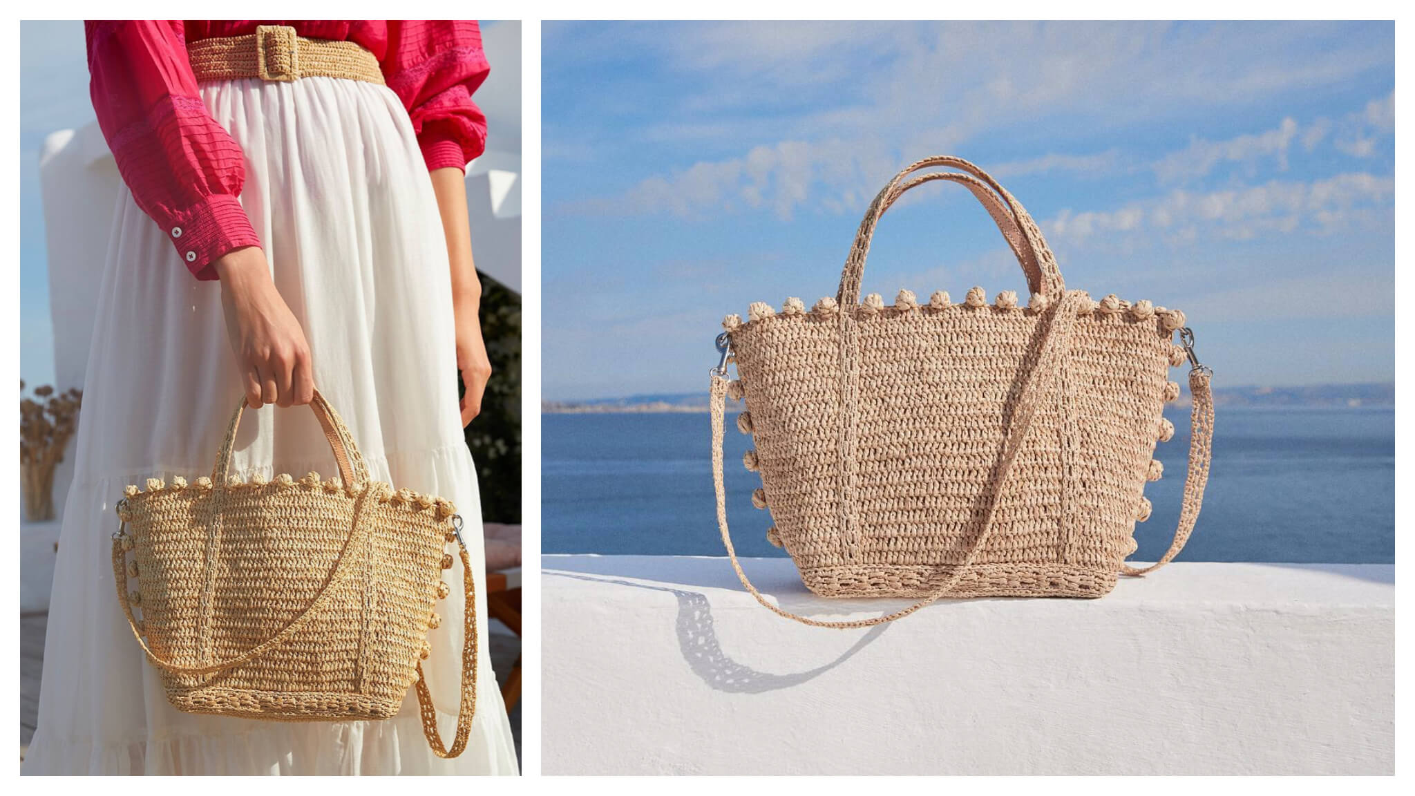 Left: A woman in a pink blouse and white skirt holds a summer handbag from Vanessa Bruno. Her wicker belt matches the material of the bag, Right: The same summer bag, pictured left, from Vanessa Bruno sits on a white ledge with blue ocean and sky in the background.