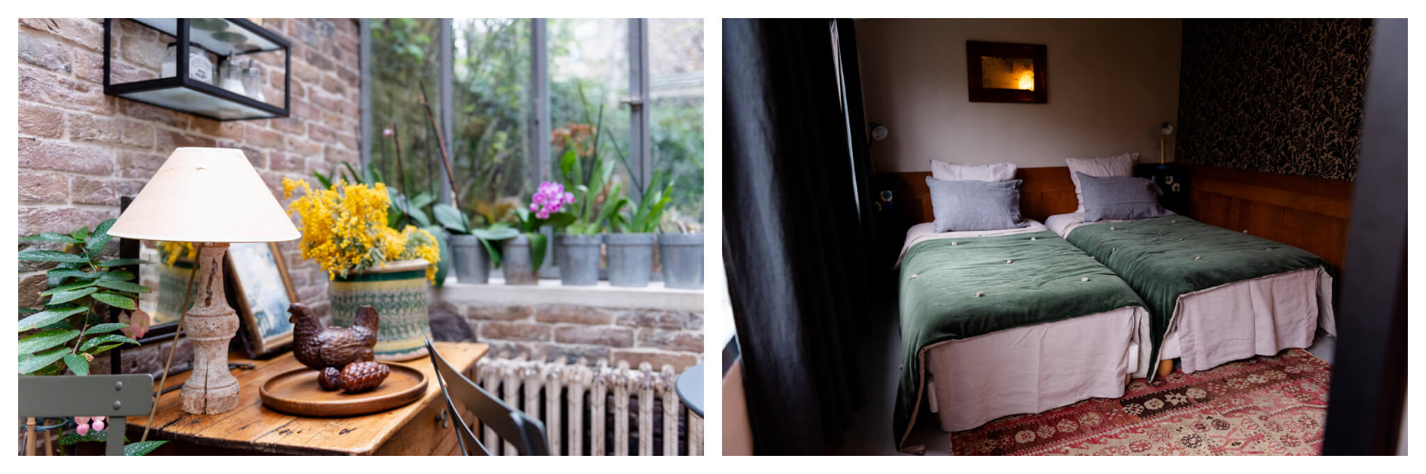 Left: Assorted items sit on a small wooden table, including a lamp and vase of yellow flowers. To the right is a windowsill lined with potted plants, Right: Two beds, decorated with gray pillows and green blankets, sit side-by-side at Le 66 in Paris.