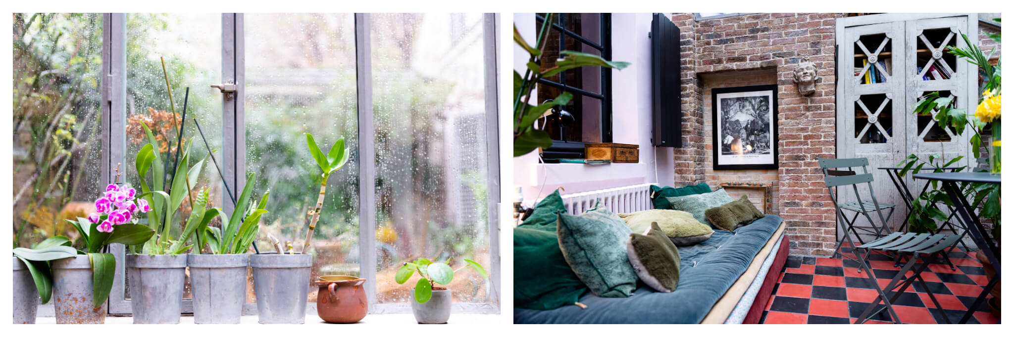 Left: Potted plants line a windowsill at Treize au Jardin in Paris' Latin Quarter, Right: A green bench lined with pillows sits in a room with brick walls and red and black tiled floors at Le 66