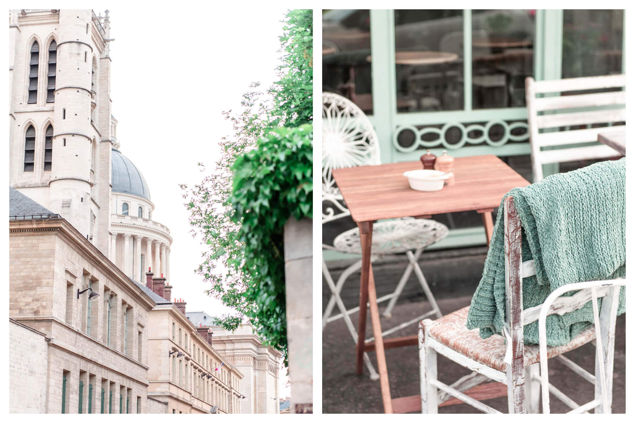 Left: A side view of the Pantheon in Paris' Latin Quarter on a bright day, Right: A table and chairs, one with a green blanket laid atop it, sit outside Treize au Jardin restaurant.