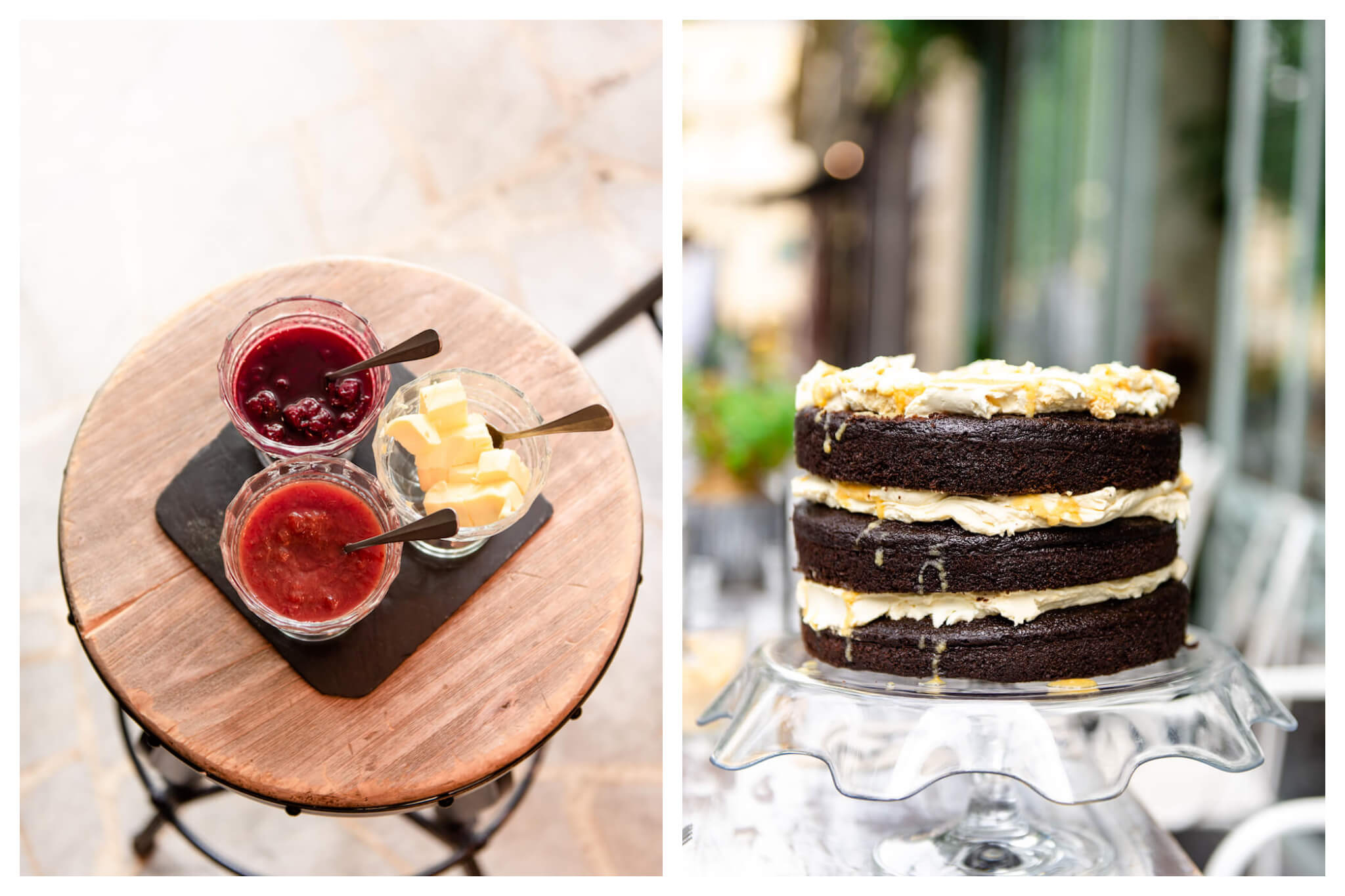 Left: Jars of red jams and a jar of butter sit atop a wooden table at Treize au Jardin, Right: A layered chocolate cake sits on a glass cake holder at Treize au Jardin