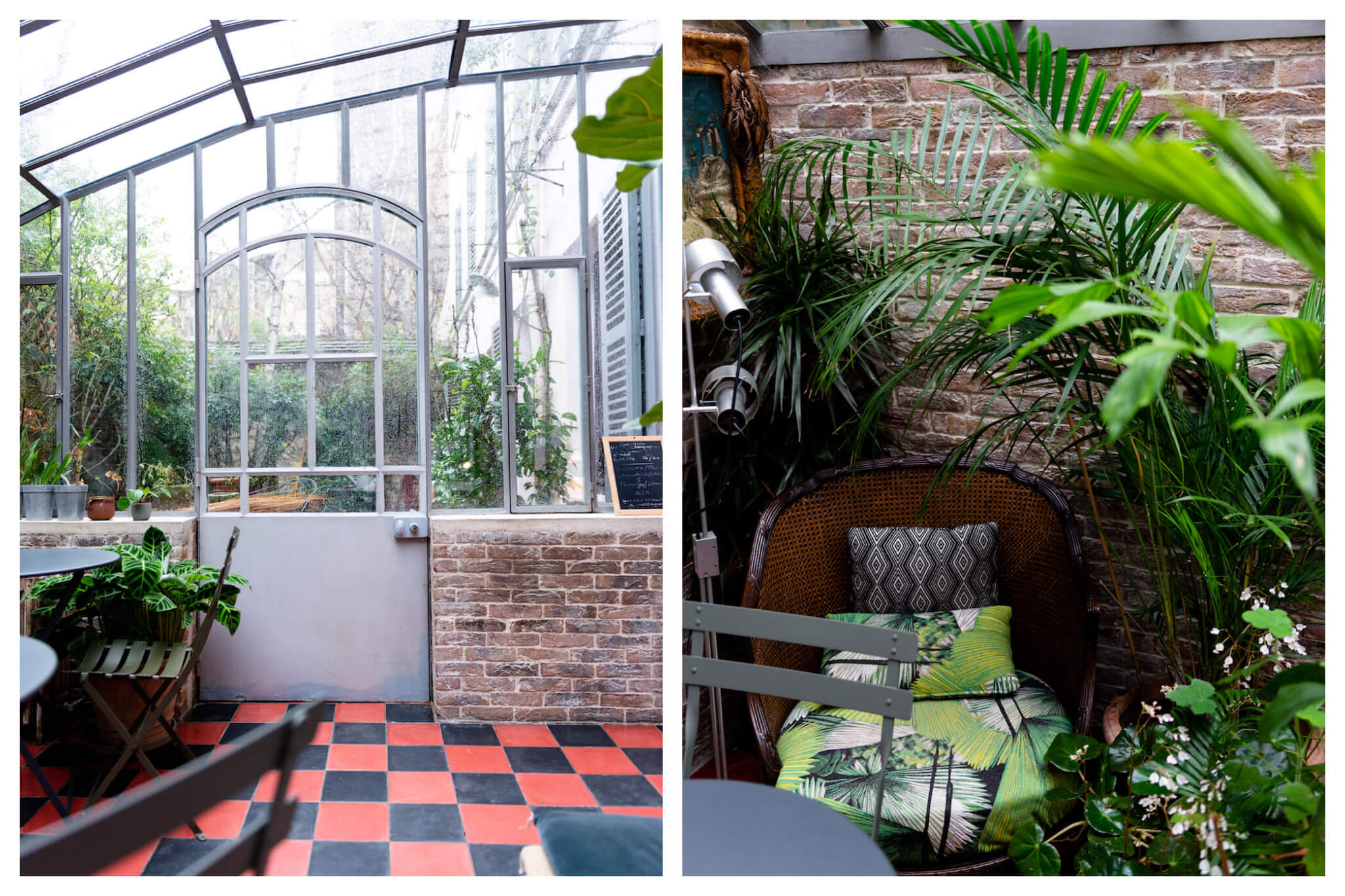 Treize au Jardin restaurant and cafe, filled with bright patterns and colorful plants.