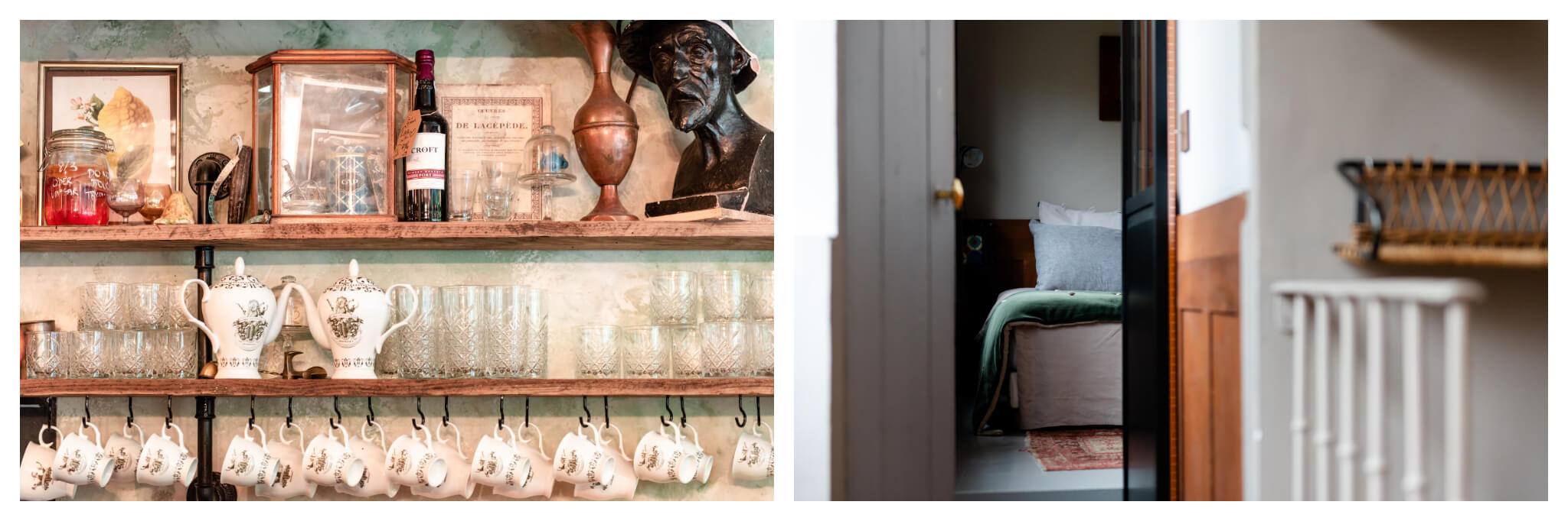 Left: An assortment of teacups and glass cups, along with various randomized items, sit on wooden shelves at Treize au Jardin, Right: An open door at the end of a hallway at Le 66 peaks into a bedroom