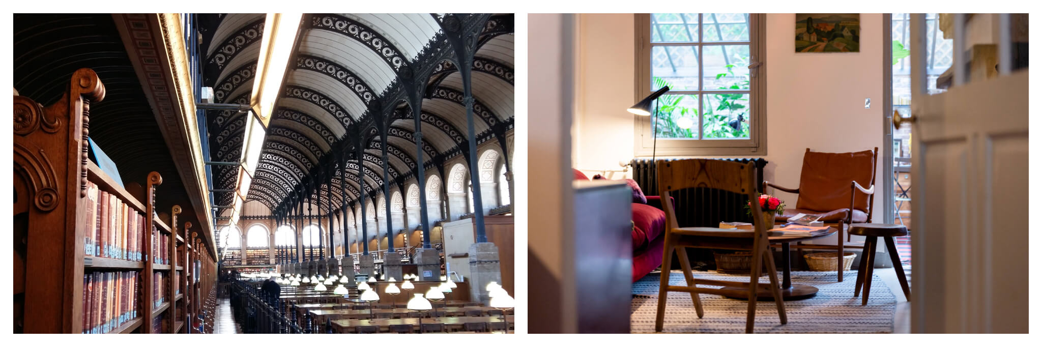 Left: Salle Labrouste, which is a library in the Latin Quarter, with light pouring in through the windows, Right: Empty chairs sit on opposite sides of a small table at Treize au Jardin