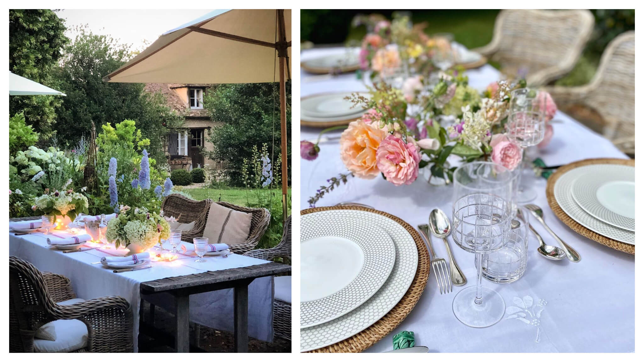 Left, a table set up for dinner in the garden in Normandy. Right, a beautifully laid table ready for dinner in a garden in Normandy.