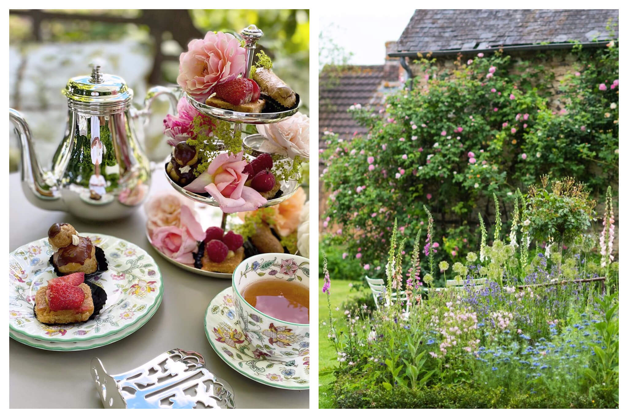 Left, afternoon tea with cakes. Right, beautiful flowery gardens in Normandy.
