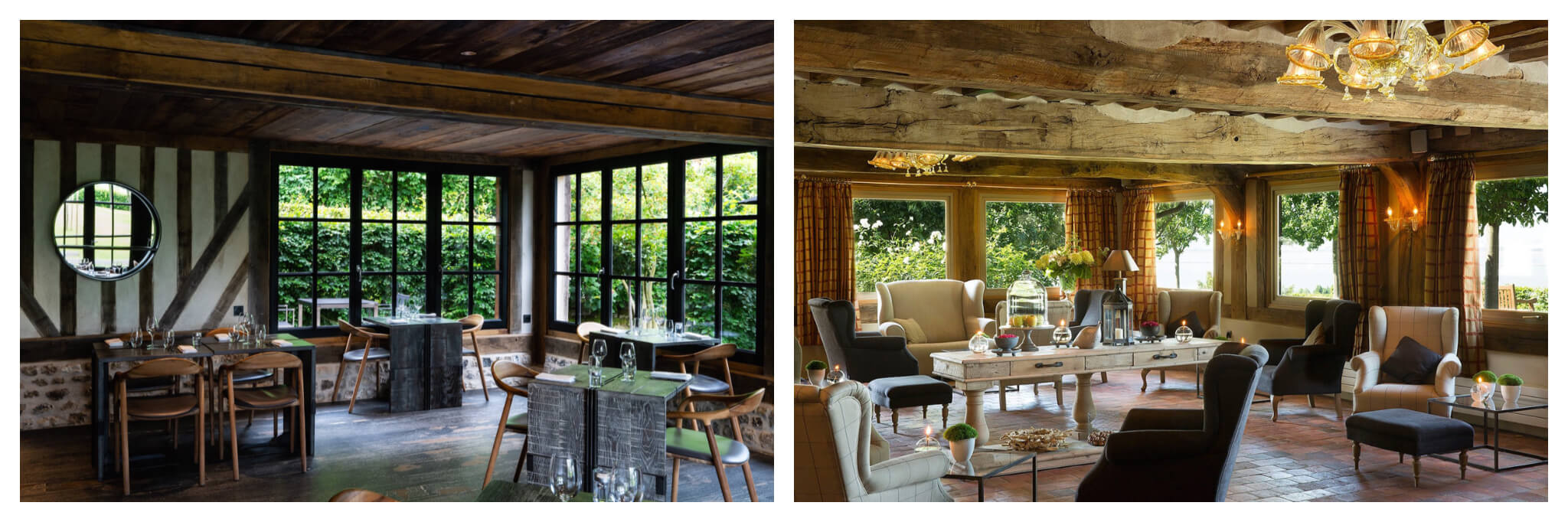 Left, the dining room with half-timbered walls at La Ferme Saint Simeon in Normany. Right: the bright and airy living area at the hotel.