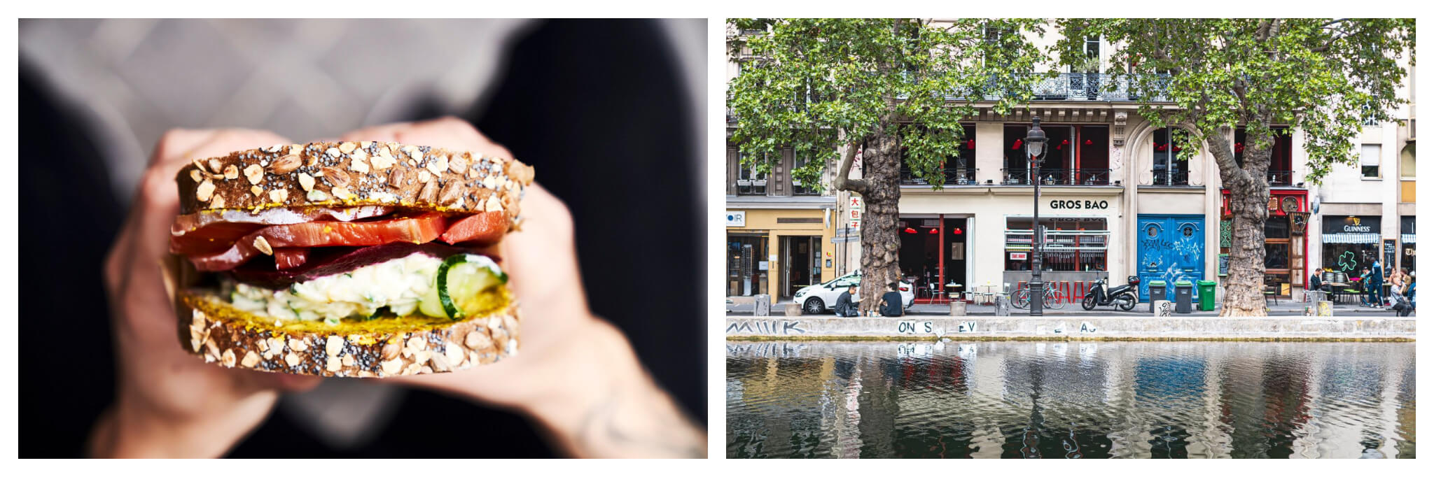 Left: A person holds a sandwich stuffed with vegetables from Back in Black, Right: The exterior of Grand Bao, which sits just next to the Canal St. Martin.