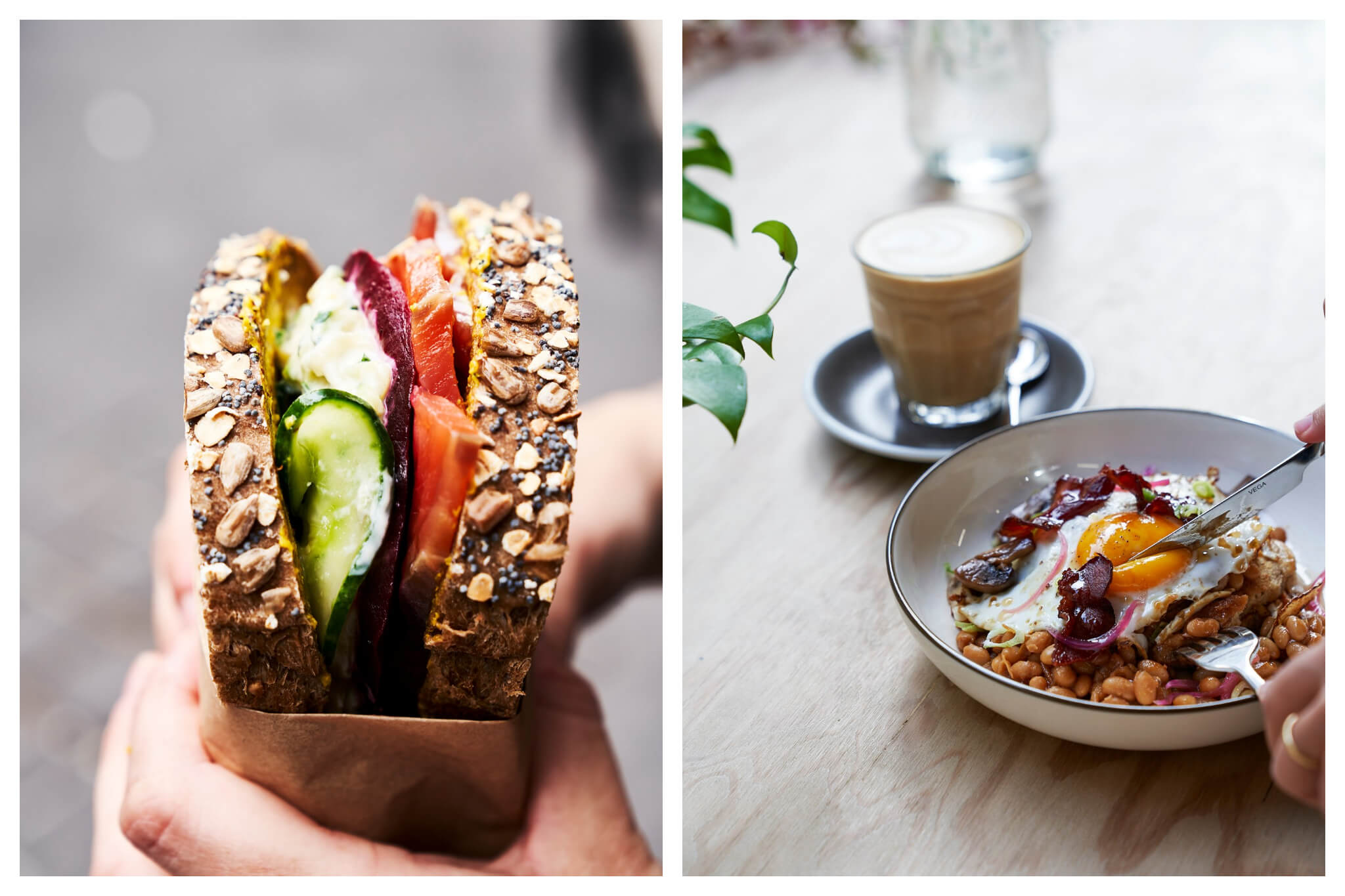 Left: A person holds a sandwich, stuffed with vegetables, from Back in Black, Right: A coffee sits next to a bowl of food, which a person is cutting into, at Back in Black. The bowl contains beans, a fried egg and bacon.