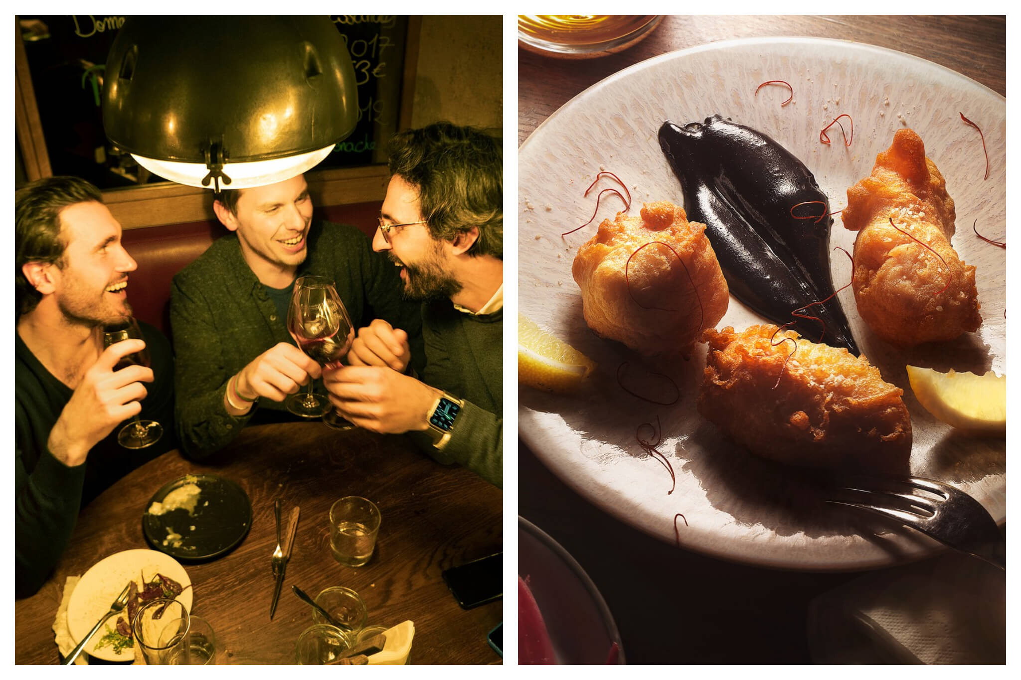 Left: Three friends share food and drinks a Freddy's wine bar, Right: A plate of sweet potato fritters at Freddy's wine bar.