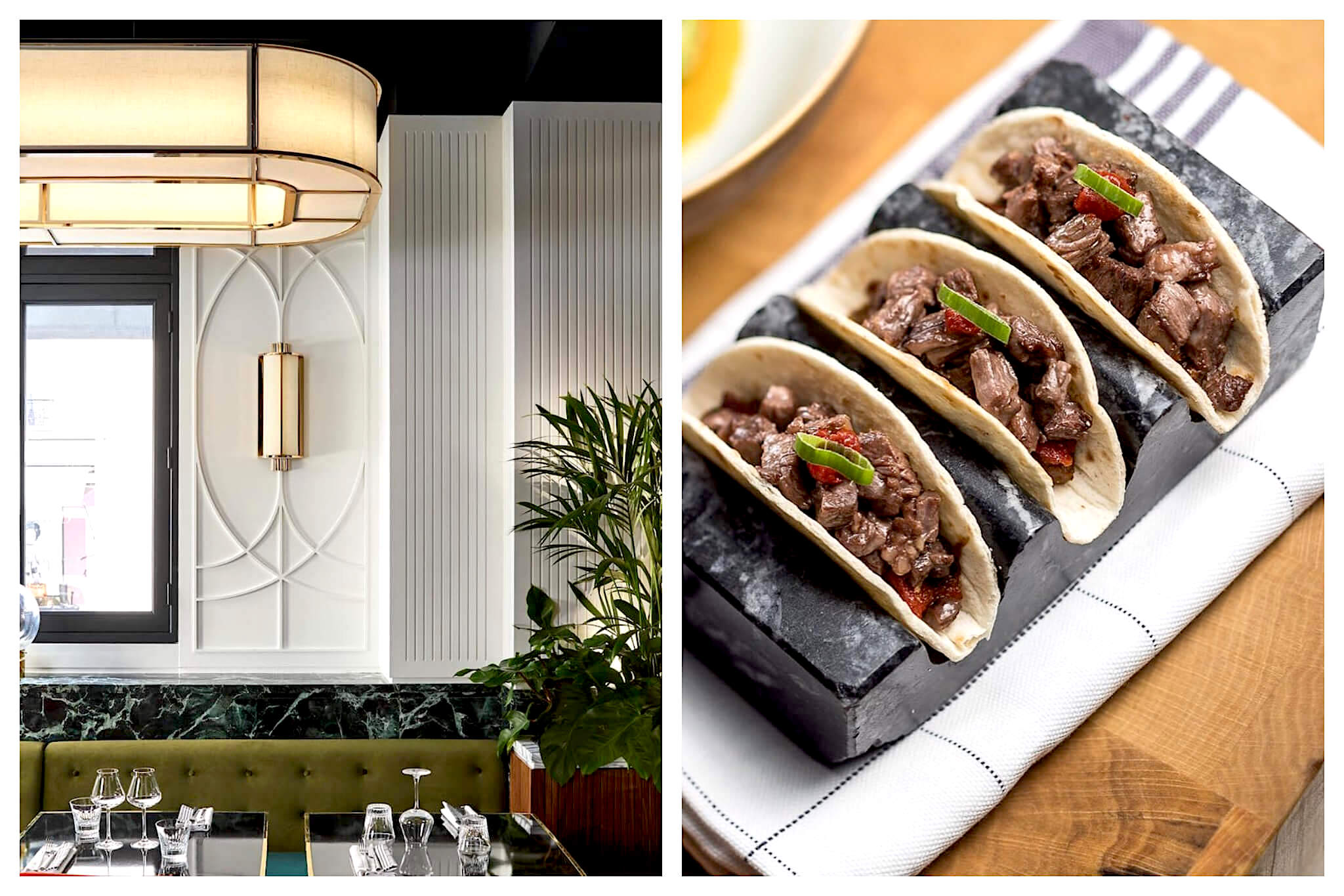 Left: The inside of Beefbar restaurant near the Champs Elysées in Paris. The interior has white walls, large green booth seating, modern lights and green plants, Right: Three beef tacos at Beefbar in Paris sit on a slab of marble