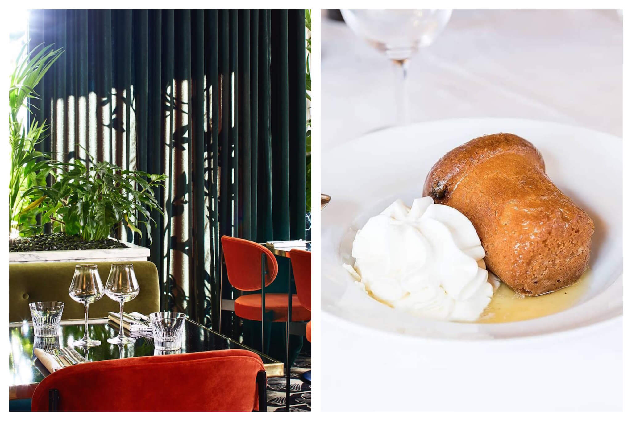 Left: The inside of Chez André near the Champs Elysées in Paris. There is a large dark curtain, plants, and orange chairs, Right: A plate of dessert, which appears to be a small cake and dollop of whipped cream, sits on a white tablecloth at Chez André
