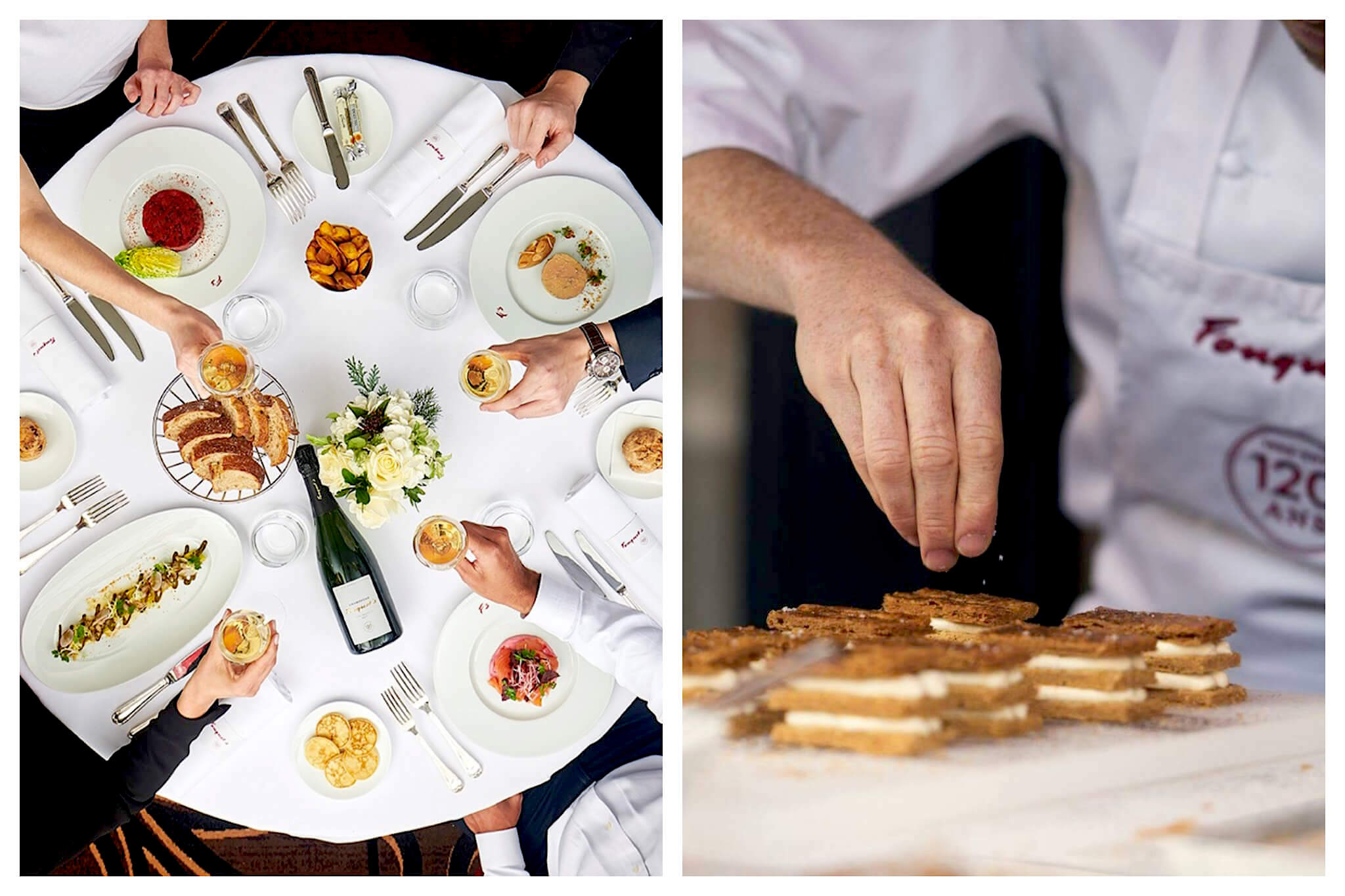 Left: An overhead shot of a group of people sharing a meal at Fouquet's in Paris. On the table are various plates of food, an arrangement of flowers, silverware and a bottle and glasses of wine, Right: A pastry chef at Fouquet's restaurant sprinkles an unidentifiable food atop pastries.