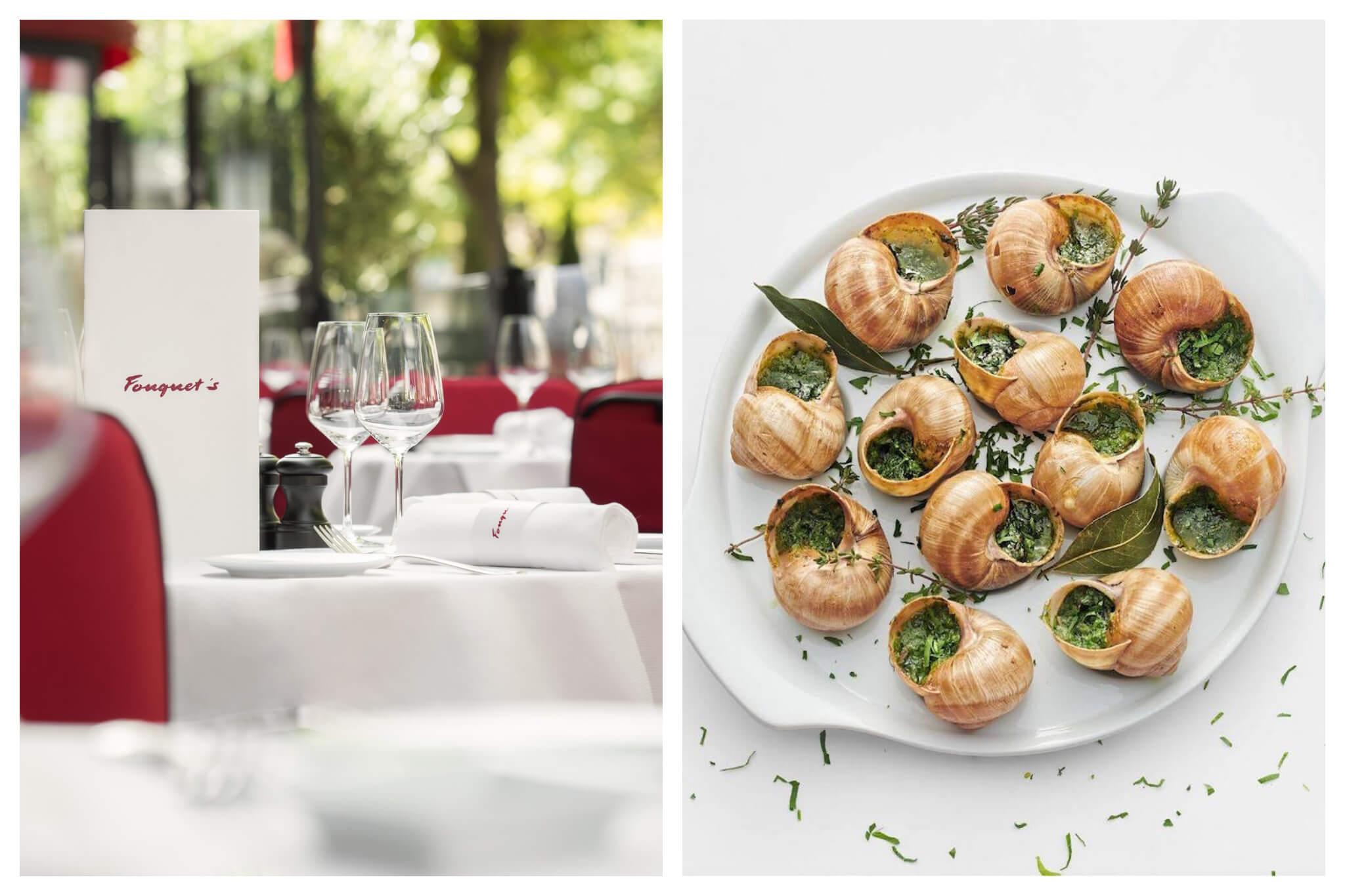 Left: Outdoors seating at Fouquet's restaurant, right: A plate of escargot at Fouquet's restaurant near the Champs Elysées