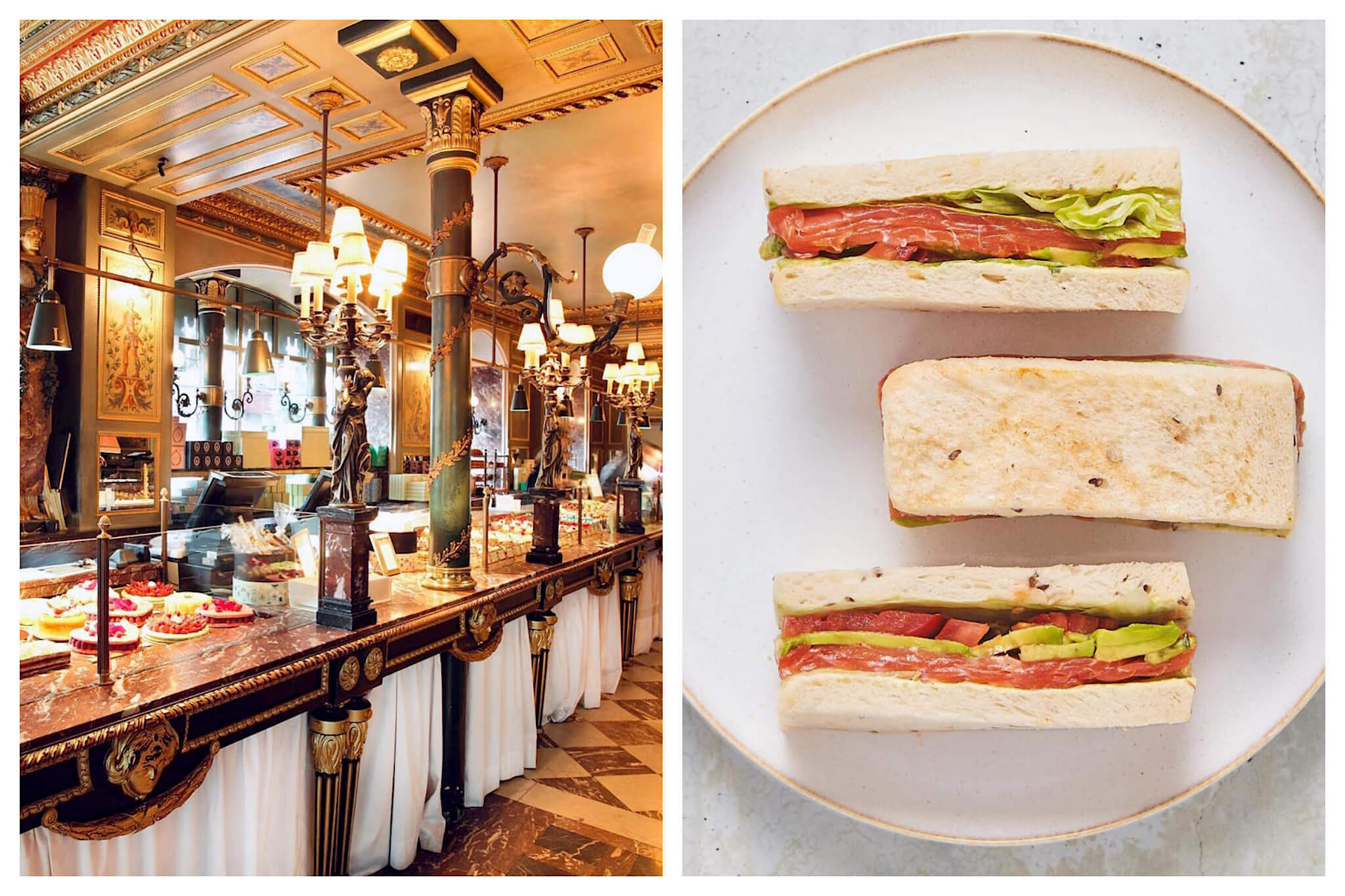 Left: Inside the Ladurée restaurant and store on the Champs Elysées. The inside is decorated with beautiful marble and bright lights, Right: Salmon and avocado sandwiches are lined up on a flat white plate at Ladurée.