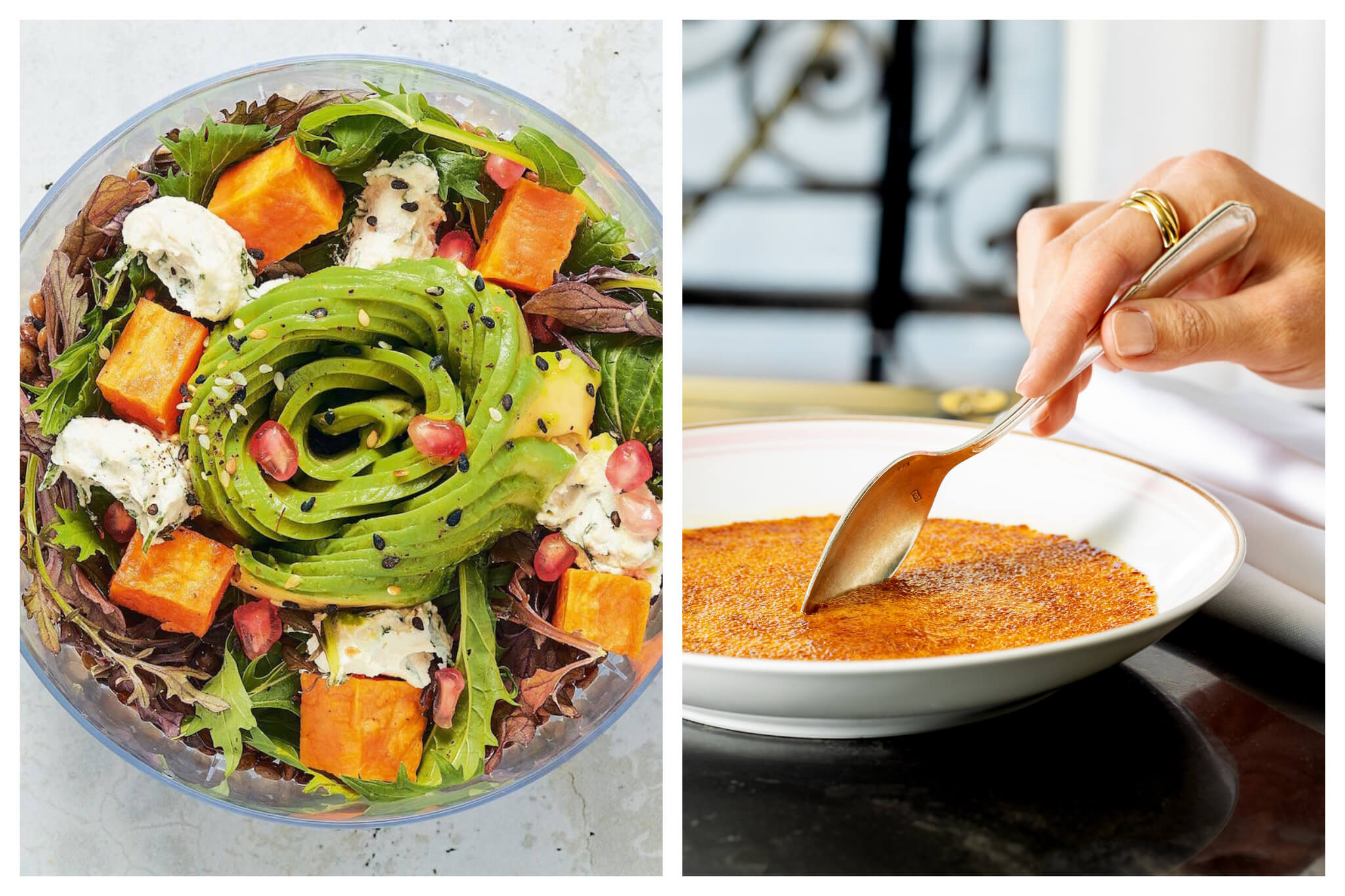 Left: A fresh, bright salad, filled with lettuce, sweet potato, avacado, cheese, walnuts, pomegranates and assorted other produce at Ladurée, Right: A person holds a large spoon and dips into the caramelized top of a crème brûlée at Ladurée.