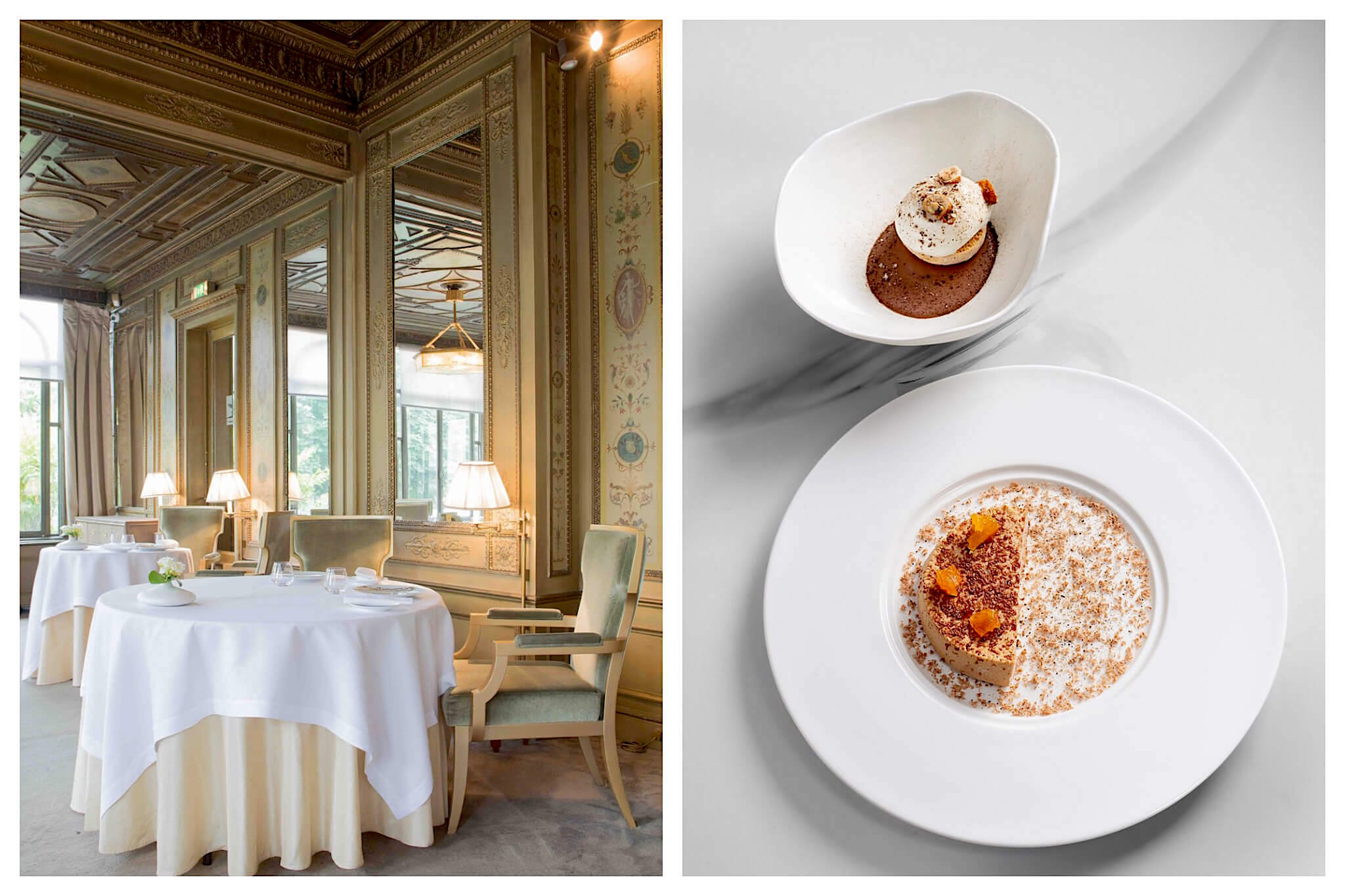 Left: The inside of Pavyllon restaurant on the Champs Elysées. Large mirrors are hung on the walls, and large circular tables are covered with tablecloths, Right: A bowl and plate of desserts sit side by side at Pavyllon restaurant
