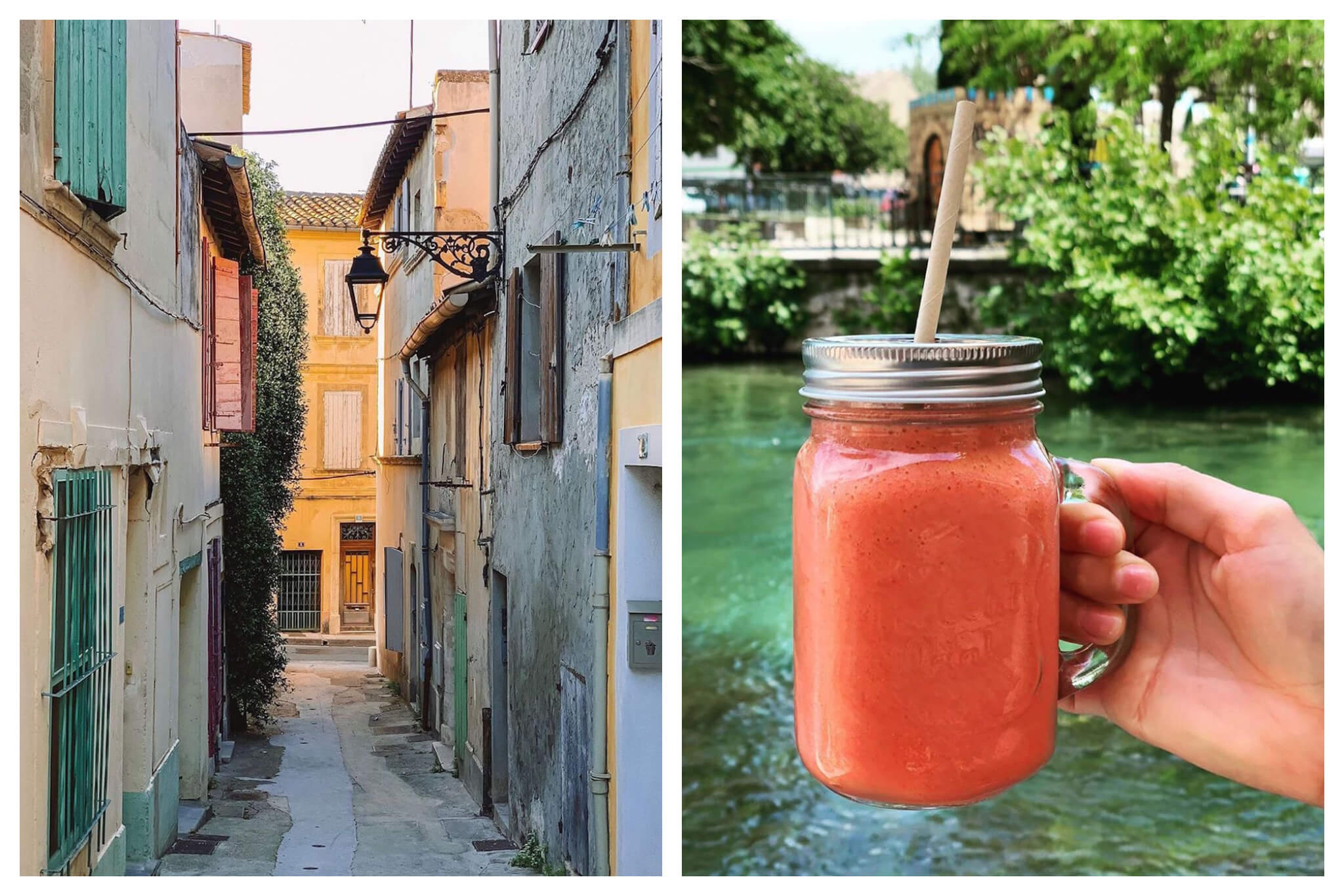 Left: An empty street in the quaint town of Arles at sunset, the light showing the bright colors of the southern town, Right: A person holds a fresh fruit smoothie from Glacier Areltais in Arles in front of a river.