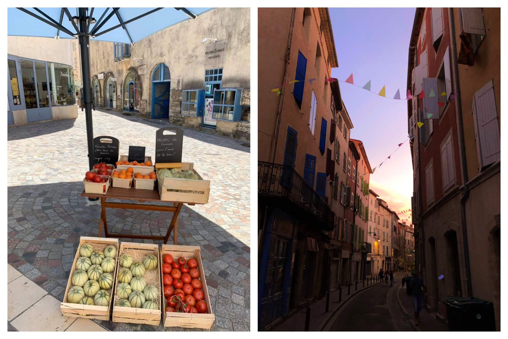 Left: Fresh produce, including cantaloupe and tomatoes, sit in wooden produce boxes at Fraîcheur et Délices in Arles, Right: A colorful street in Provence, lined with small triangle flags, is empty just after sundown.