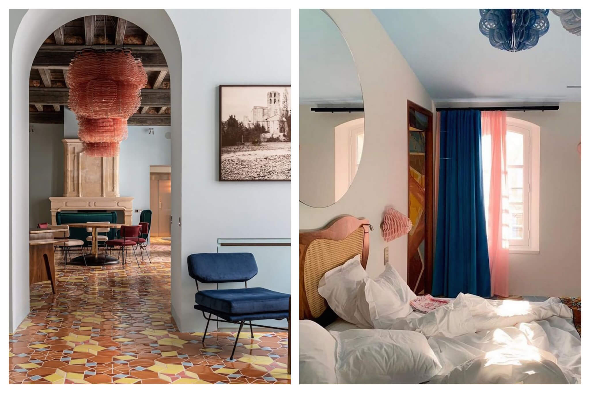Interior shots of the beautifully decorated and designed L'Arlatan in Arles, complete with a light blue, pink, white and orange color scheme.