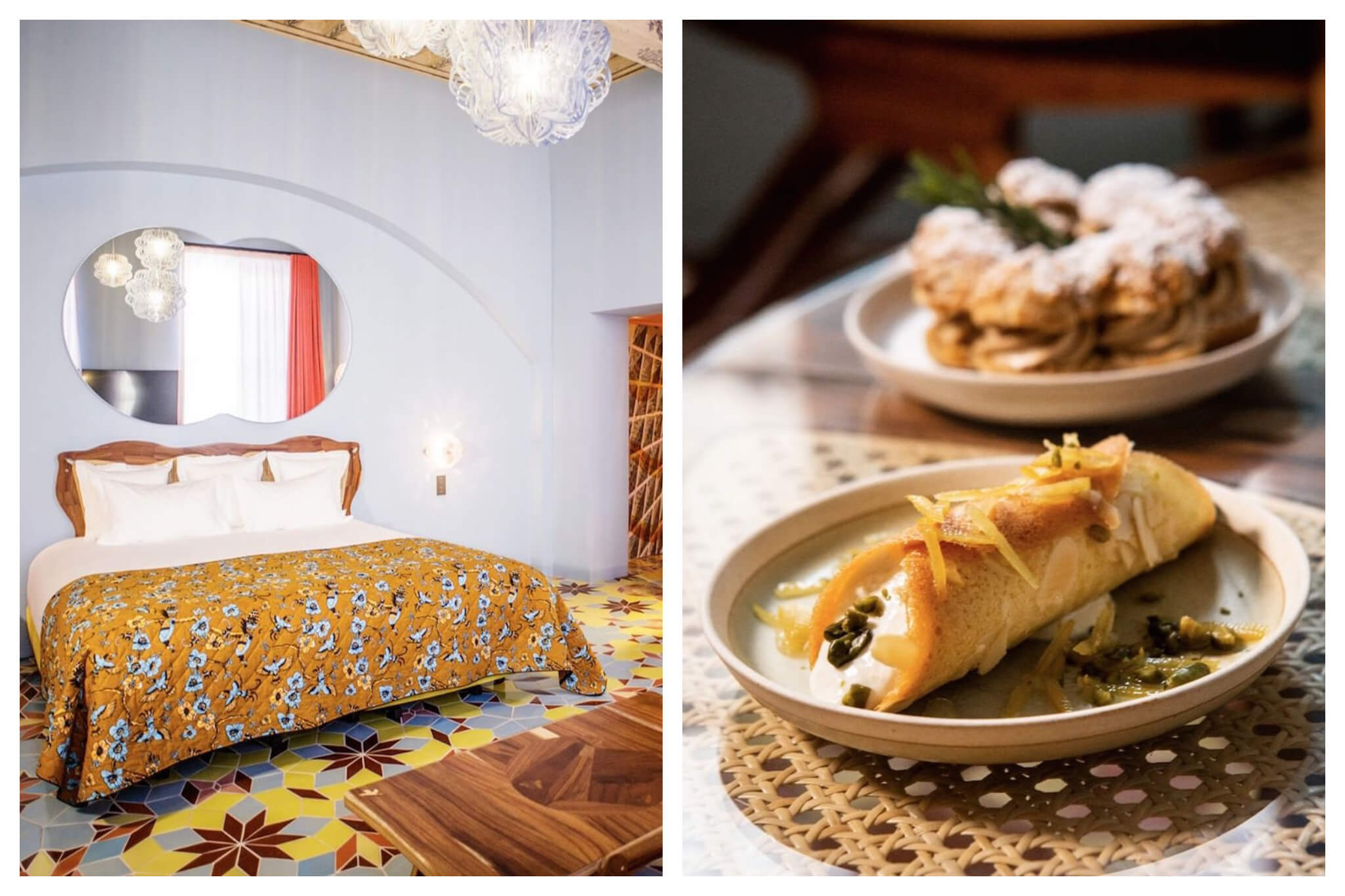 Left: A beautifully decorated room at the L'Arlatan, styled with bright colors and patterns, Right: Inviting plates of food sit atop a table at one of the delicious restaurants at L'Arlatan in Arles.