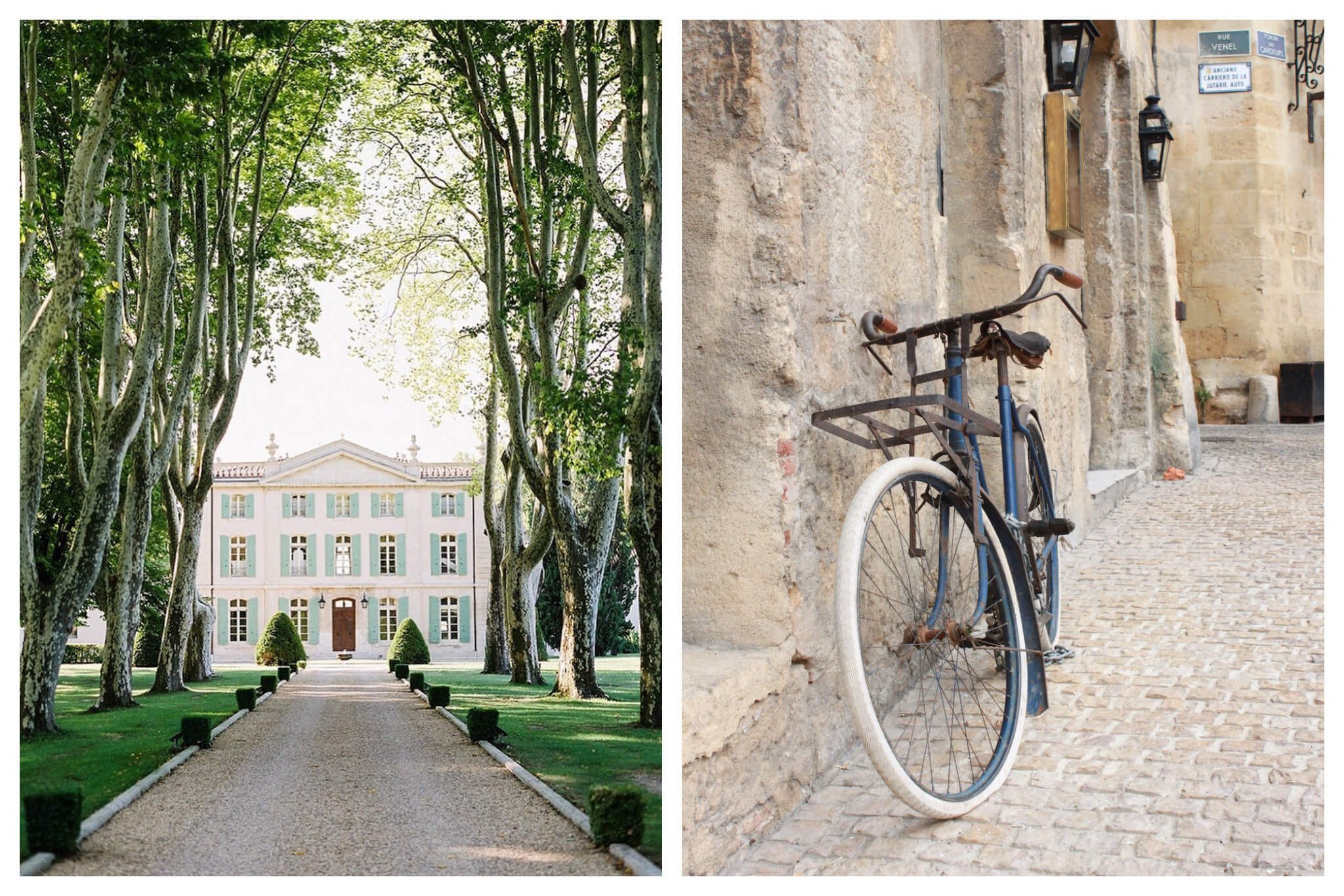 Left: A grand, old building stands at the end of a long driveway, lined with grass and tress near Arles, Right: A blue bike leans against a stone wall in the old-but-beautiful town of Arles.