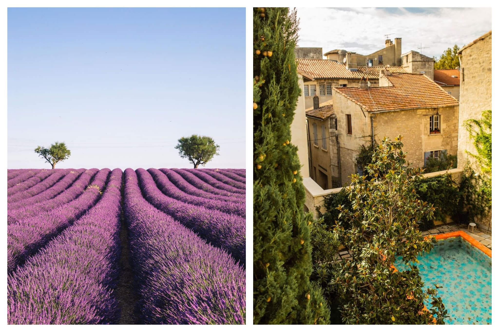 Left: A beautiful, open field of lavendar on a sunny day in Provence, Right: An overhead shot of an outdoor area, pool and Provencal rooftops from a room at the L'Arlatan