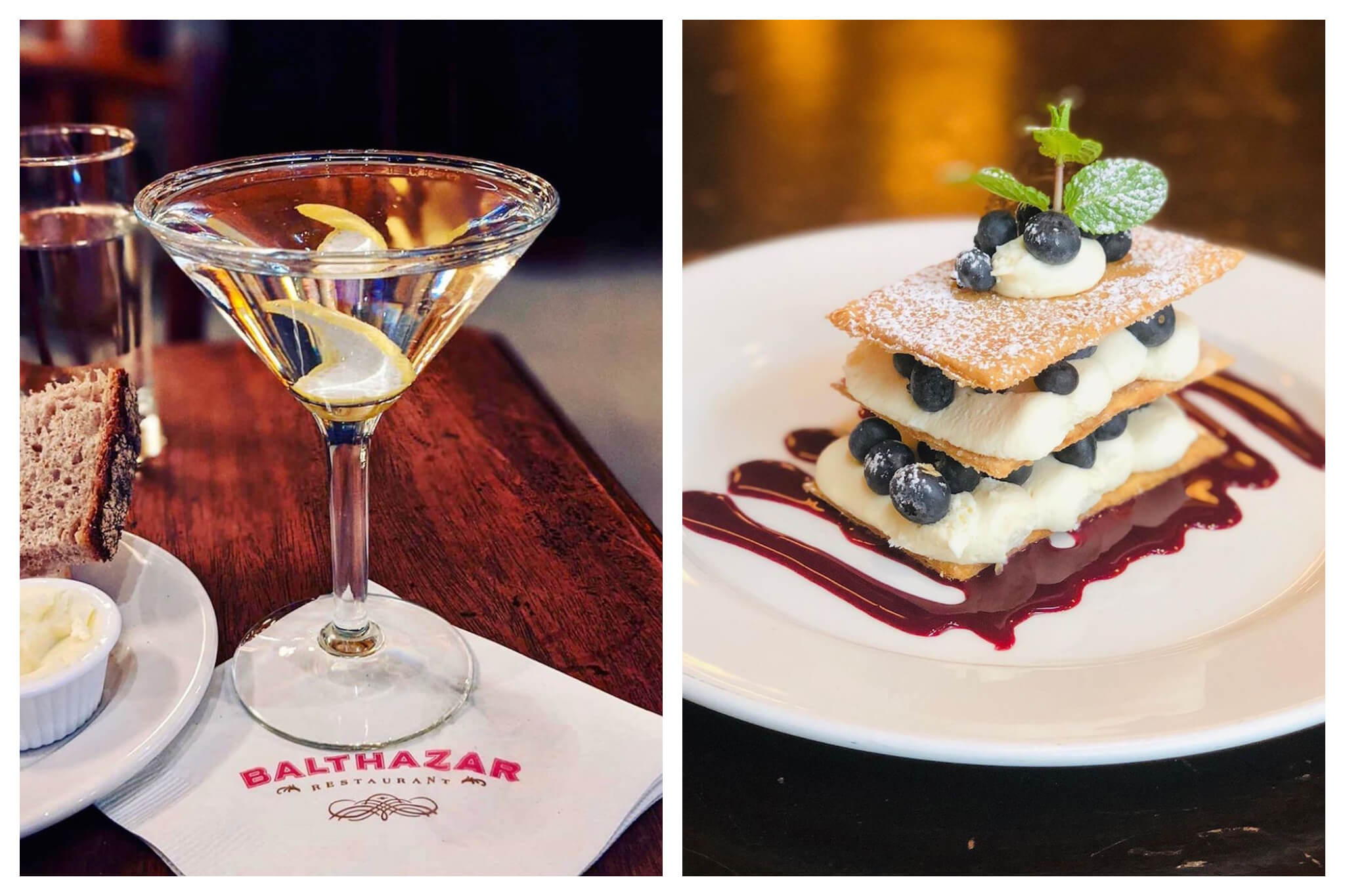 Left: A freshly made martini with a lemon slice sits atop a napkin, printed with the name of the restaurant, Balthazar, on it, Right: A delicious plate of dessert at Balthazar restaurant in NYC. topped with powdered sugar, blueberries and a sprig of mint