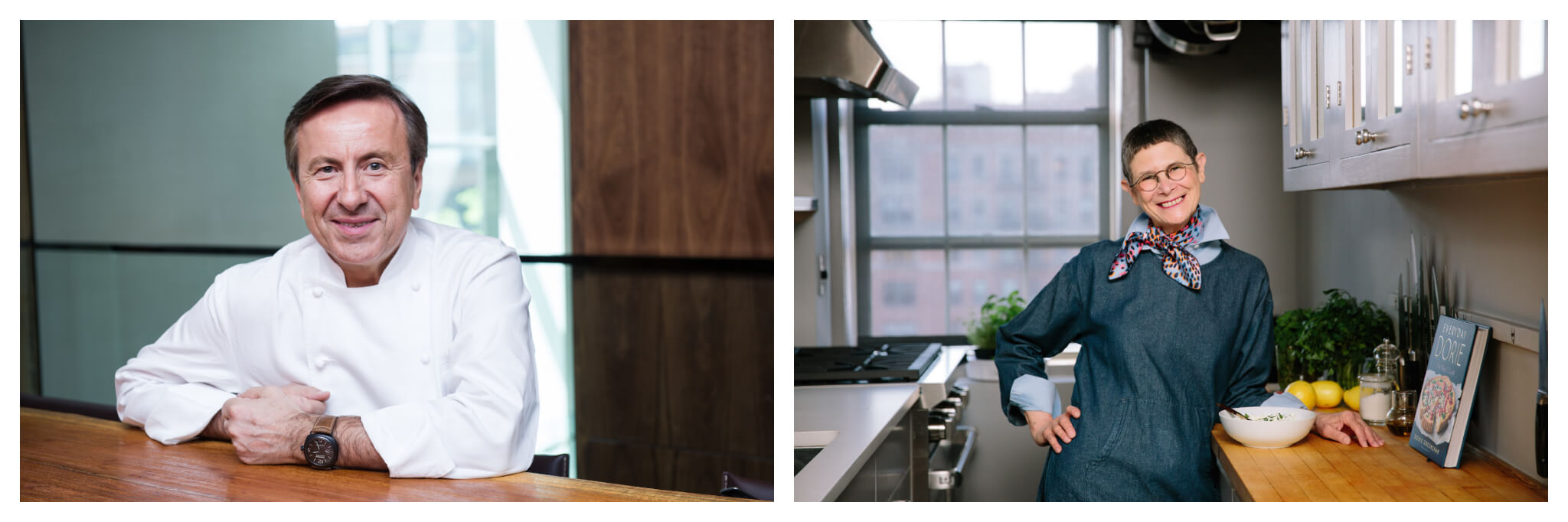 Left: A portrait of chef Daniel Boulud, wearing his chef's coat and smiling at the camera, Right: A portrait of Dorie Greenspan smiling in her New York City home kitchen