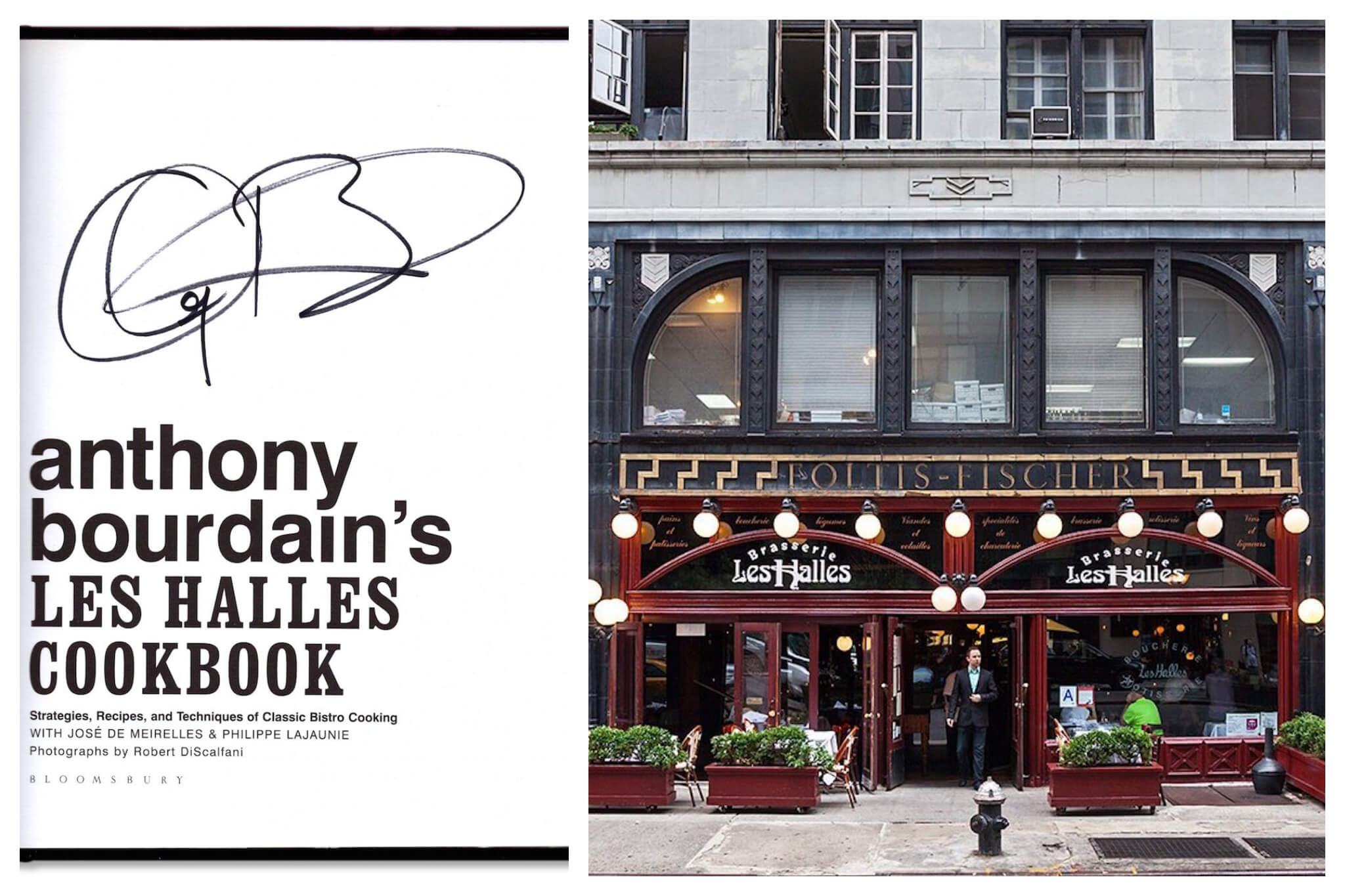 Left: The title page of one of Anthony Bourdain's cookbooks, the Les Halles Cookbook, Right: The front of the late Les Halles restaurant in New York City