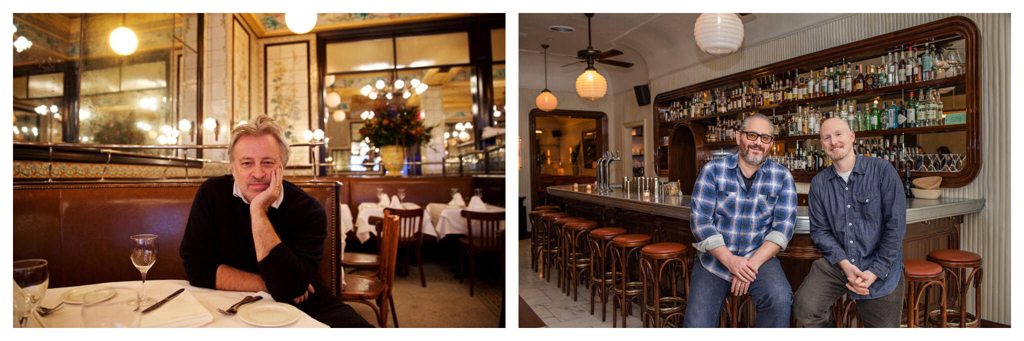 Left: Keith McNally, one of the authors of the Balthazar cookbook, seated at a booth in a restaurant, and looks straight into camera with his head resting on his hand, Right: Riad Nasr and Lee Hanson, co-authors of the Balthazar Cookbook, sit next to each other on barstools in a restaurant and smile at the camera