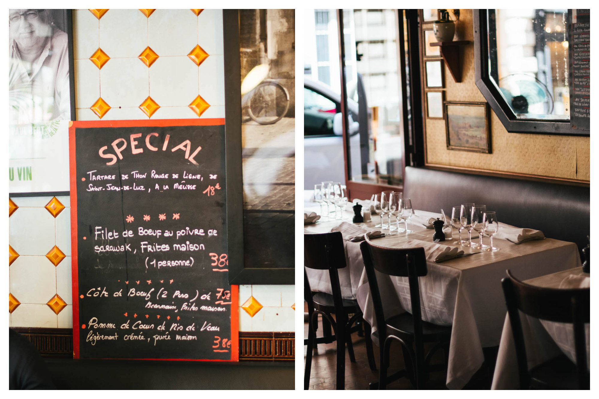 Left: A board leans against the tiled wall of Bistro Paul Bert in Paris. The specials for the day are written on it, including tartare de thon rouge (red tuna tartare), filet de boeuf and côte de boeuf, Right: An empty table is set and ready for dinner time at Bistro Paul Bert