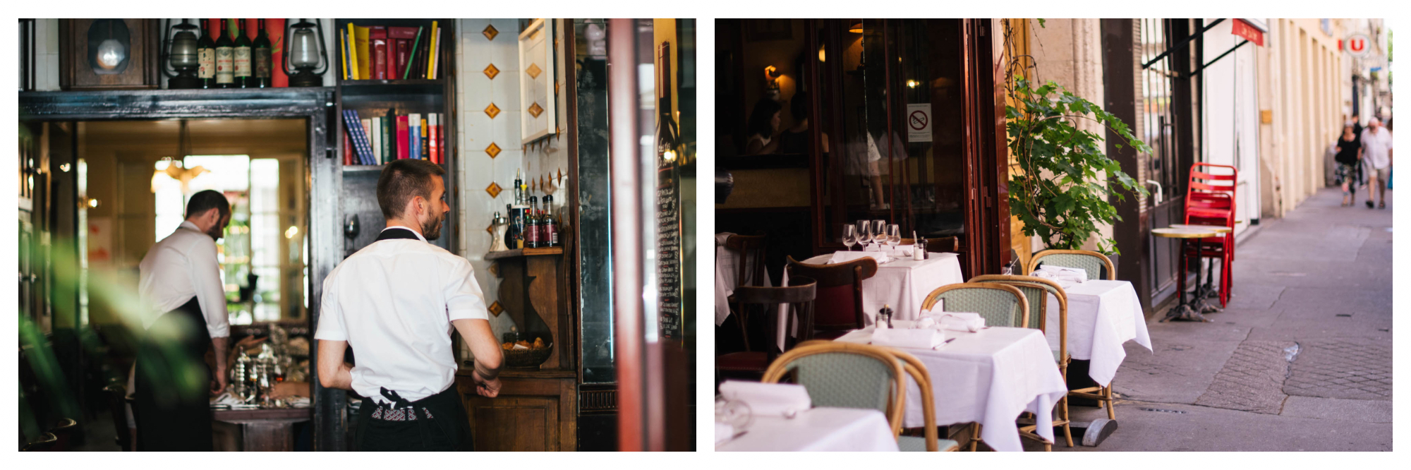 Left: A shot from the outside looking into the Bistro Paul Bert, where two waiters can be seen bustling around, Right: Empty tables line the outside seating area of the Bistro Paul Bert, set with white table clothes and napkins
