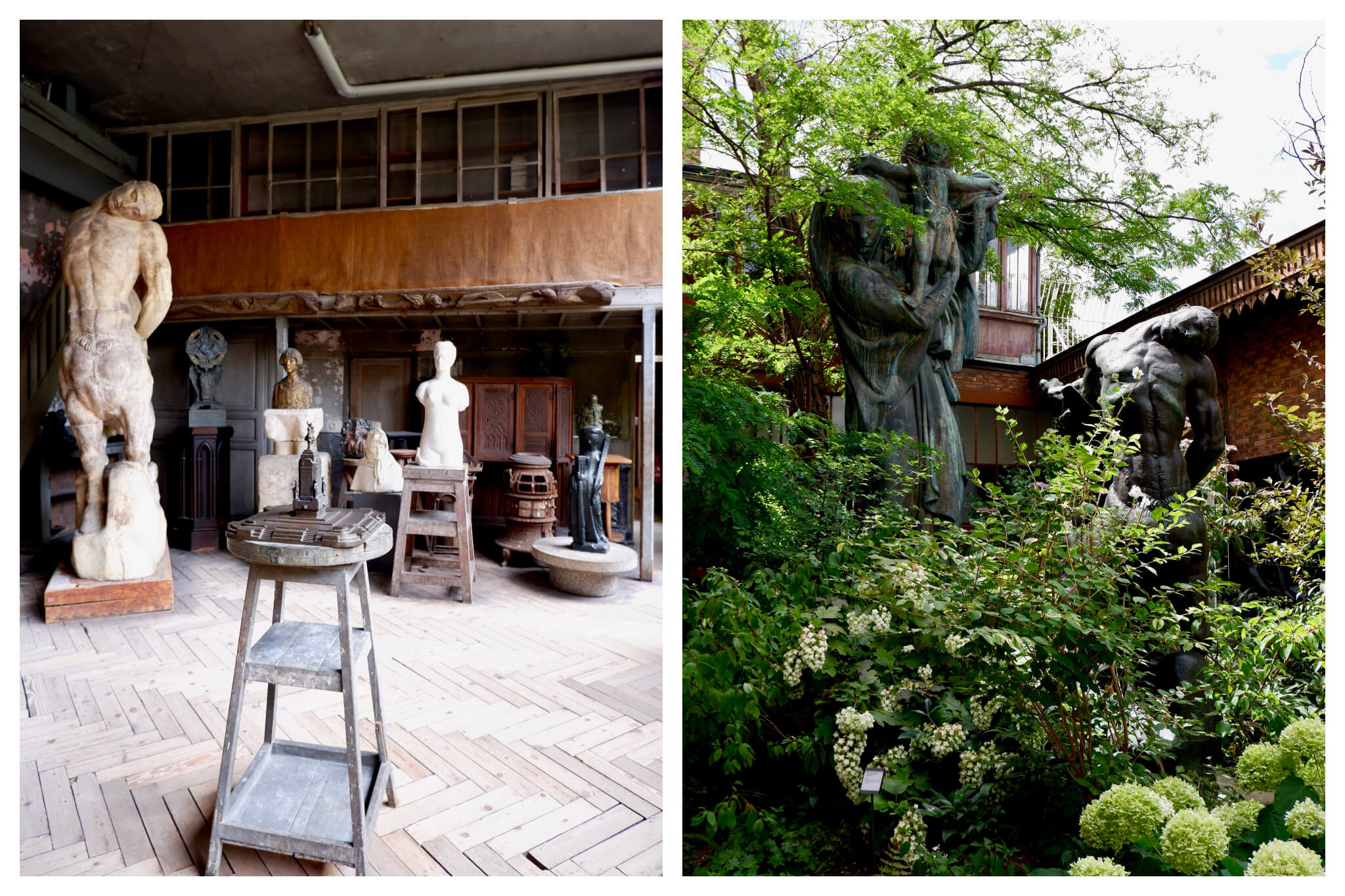 Left, the sculptures inside the Musée Bourdelle, a museum dedicated to the work of French sculptor Antoine Bourdelle. Right, the leafy gardens and sculptures of the Musée Bourdelle.