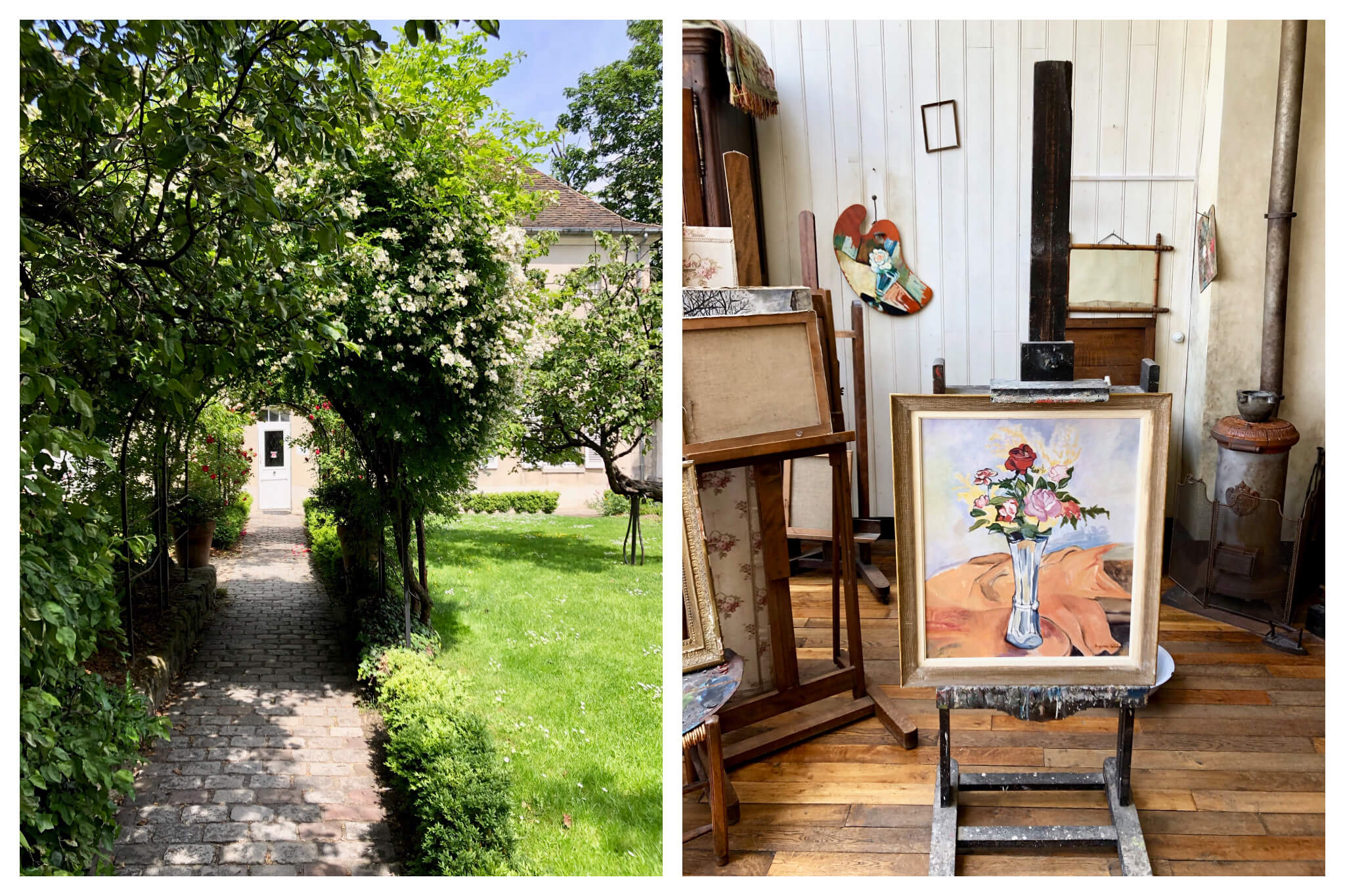 Left, the garden of the Musée Montmartre in Paris, featuring the oldest house in the area. Right, a painting of flowers in a vase inside the atelier of Suzanne Valadon at the museum.