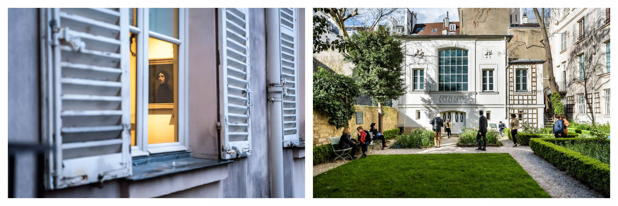 Left, a glimpse inside artist Eugene Delacroix's former residence, now a museum. Right, the gardens of the museum in Paris.