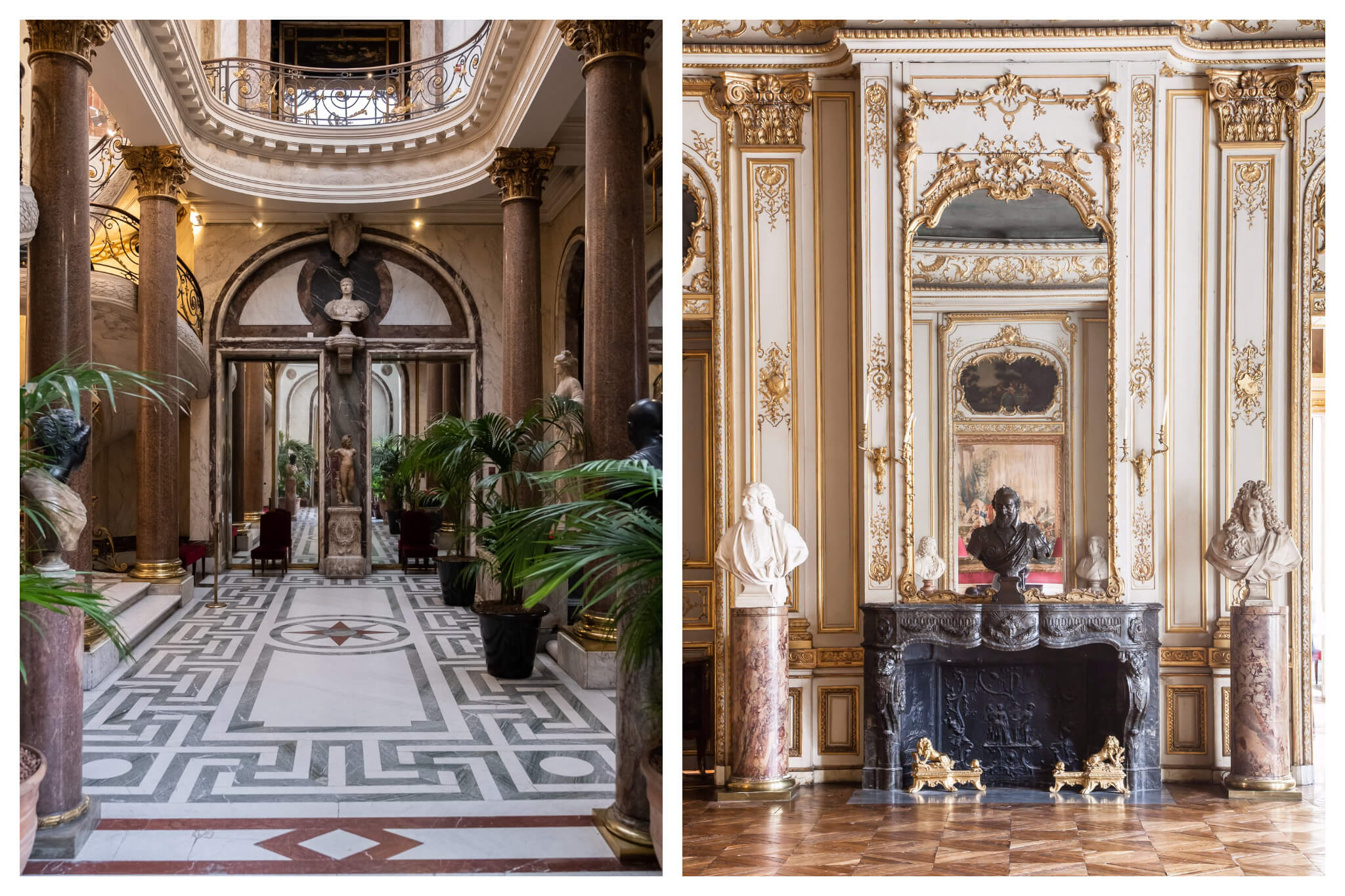 Left and right, the beautiful interiors of the Musée Jacquemart-André, which is an ornate hotel particulier in the 8th district of Paris.