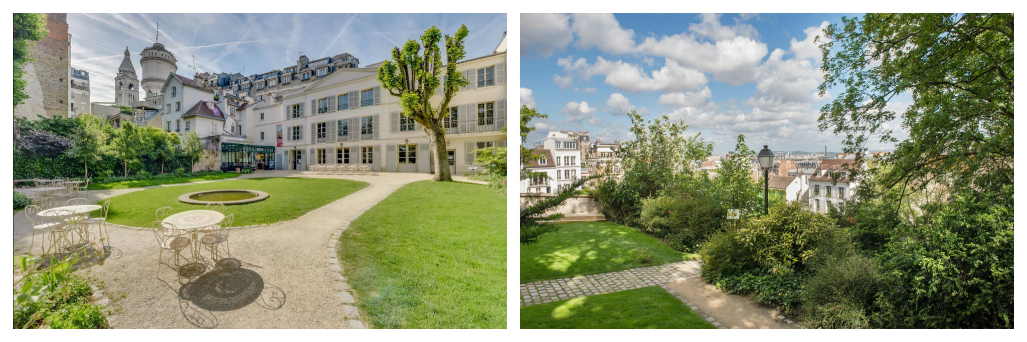 Left and right, the garden of the Musée Montmartre in Paris, featuring the oldest house in the area.