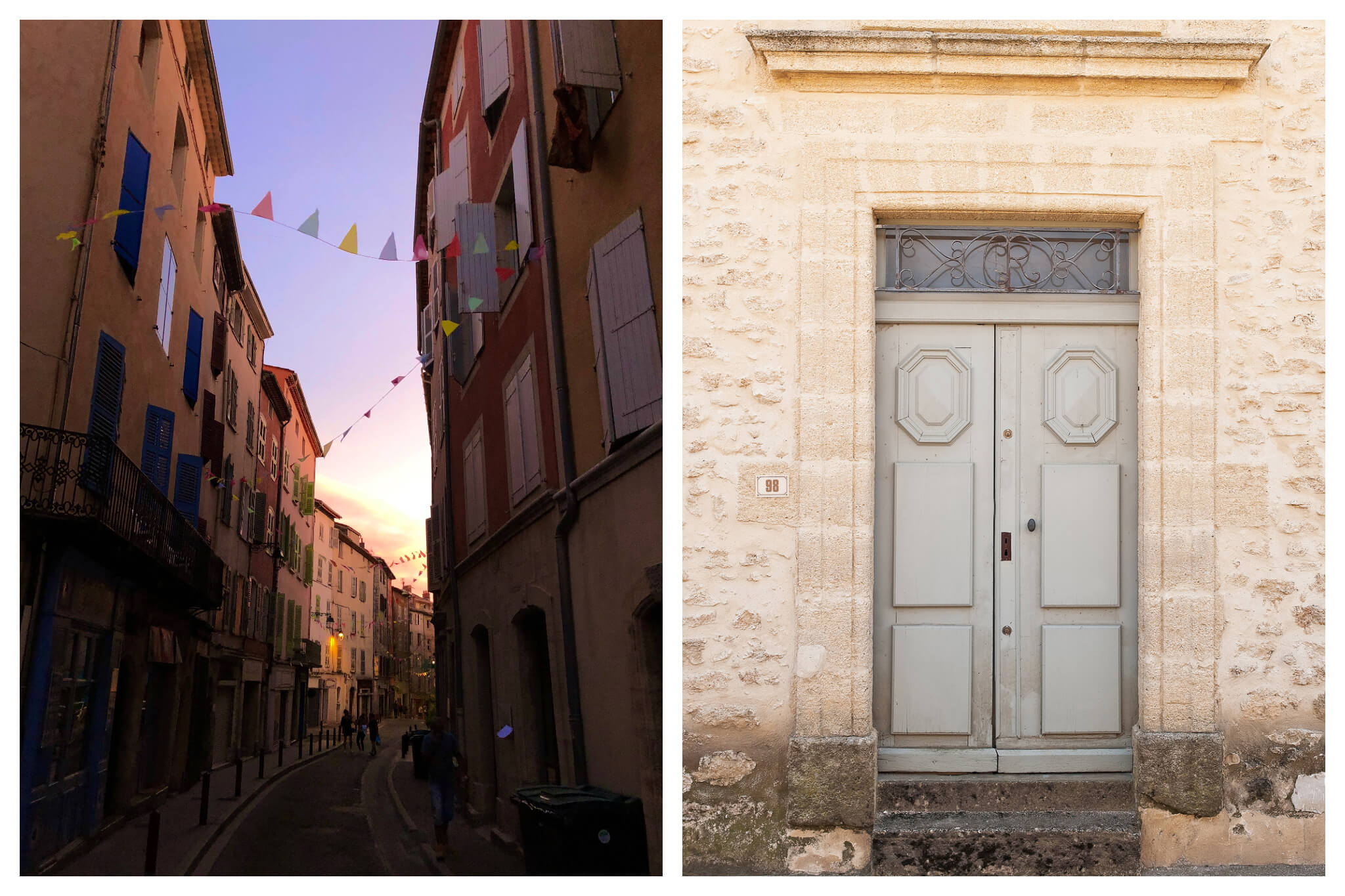 Left: a Provence street at sunset. Right: the front door of a house in Provence.
