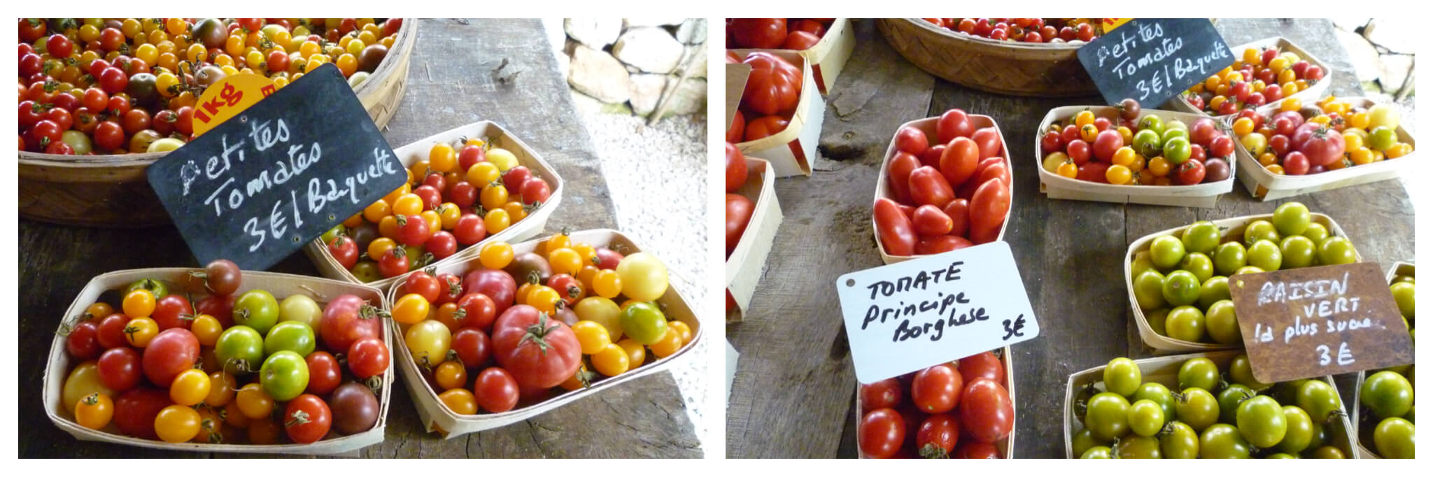 Both: various cherry tomatoes of all different colours at a market.