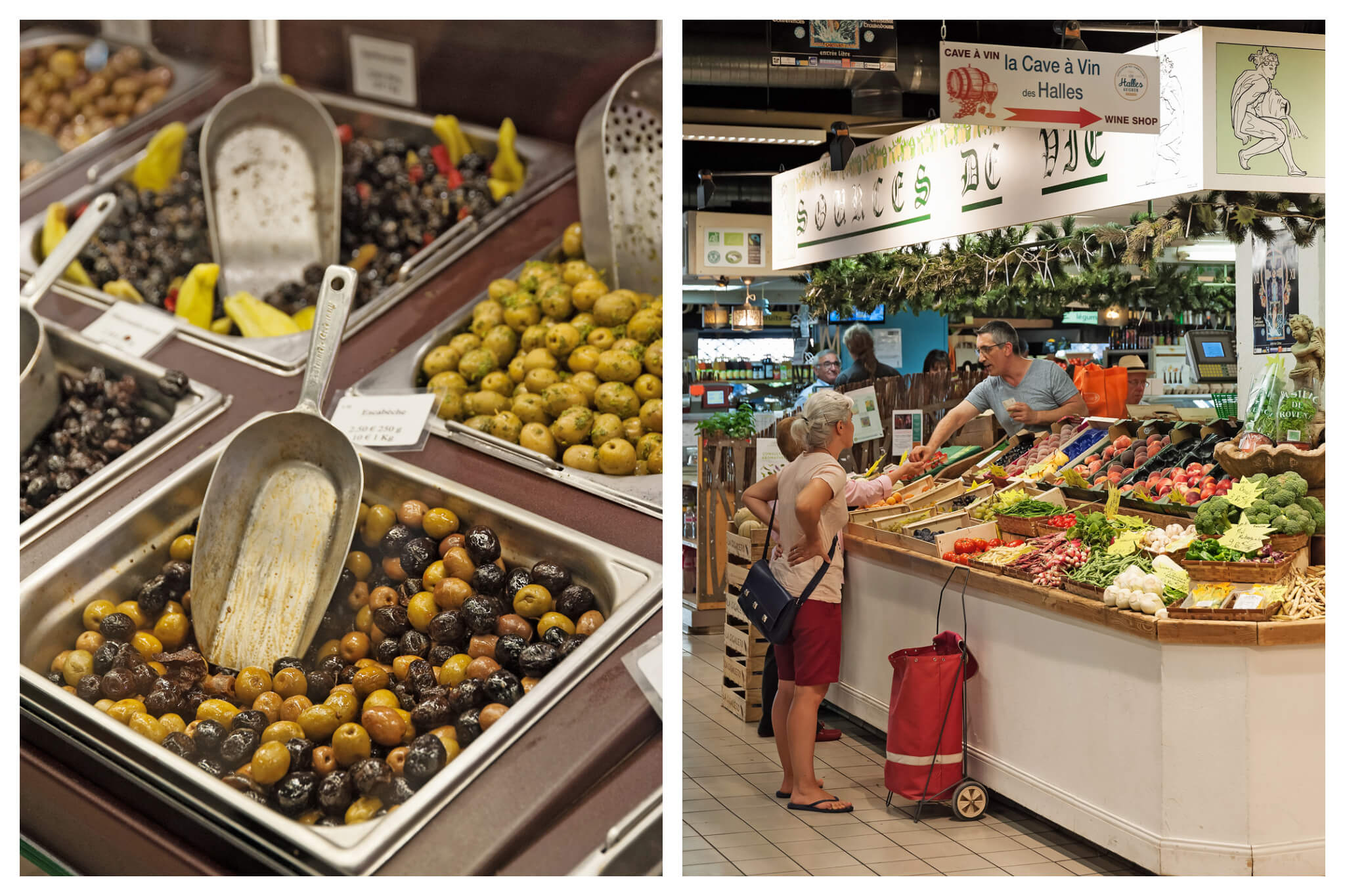 Left: various olives at a market. Right: two women purchasing goods from a green grocer at a market.