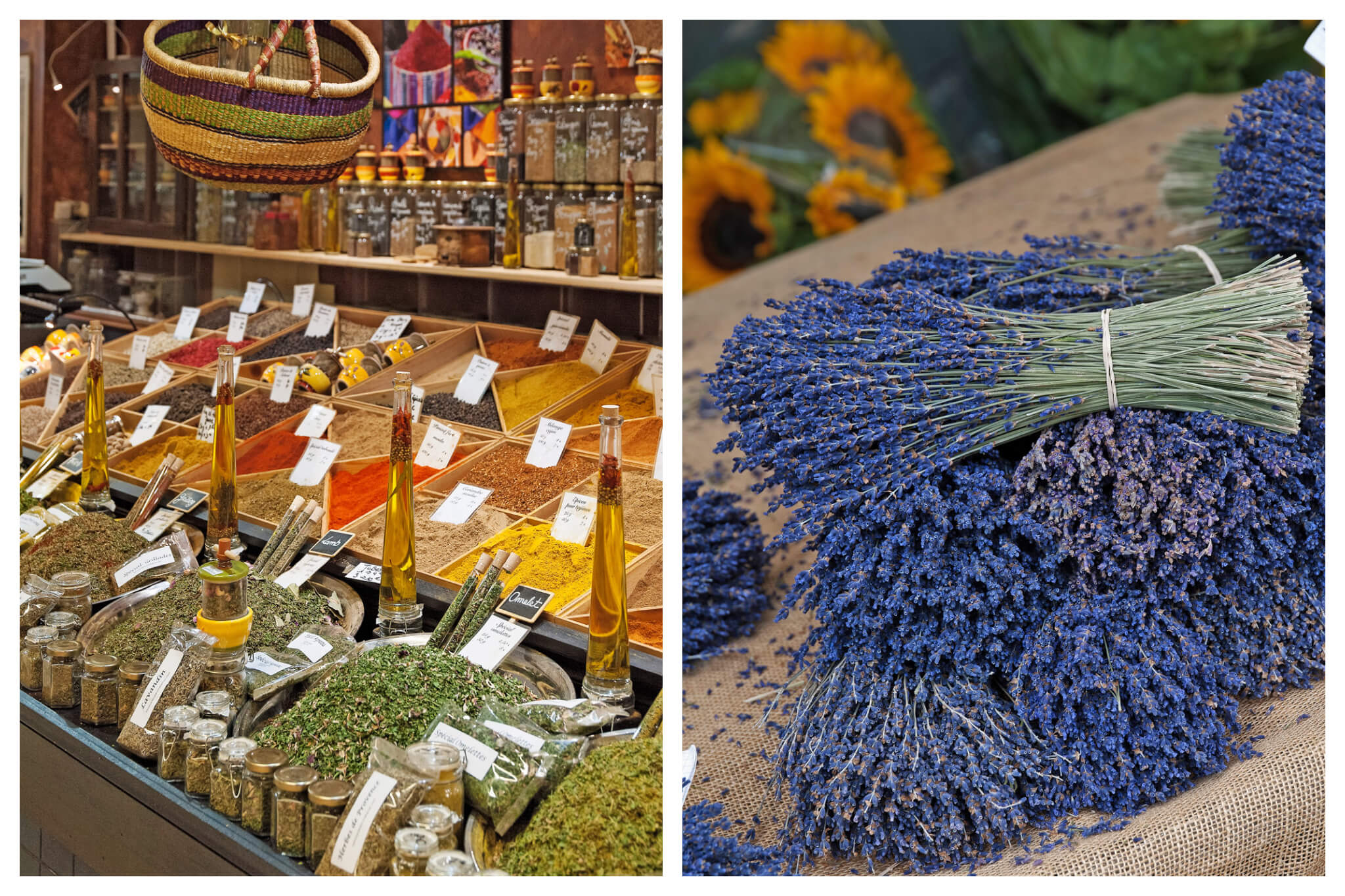 Left: various spices, herbs and oils at a market. Right: bunches of lavender with sunflowers in the background at a market.